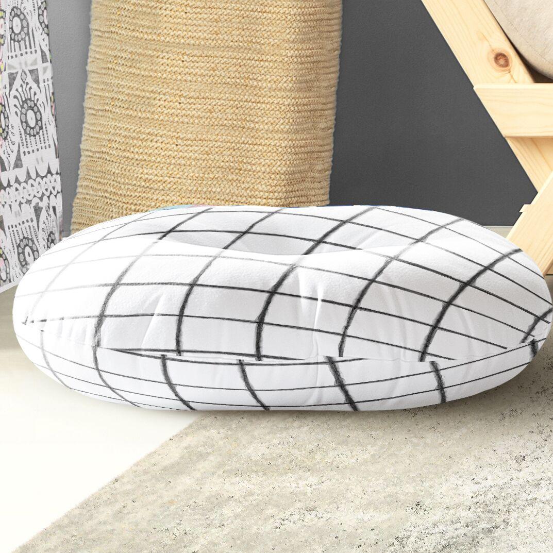 Watercolor Check Indoor/Outdoor Floor Pillow Size: 26