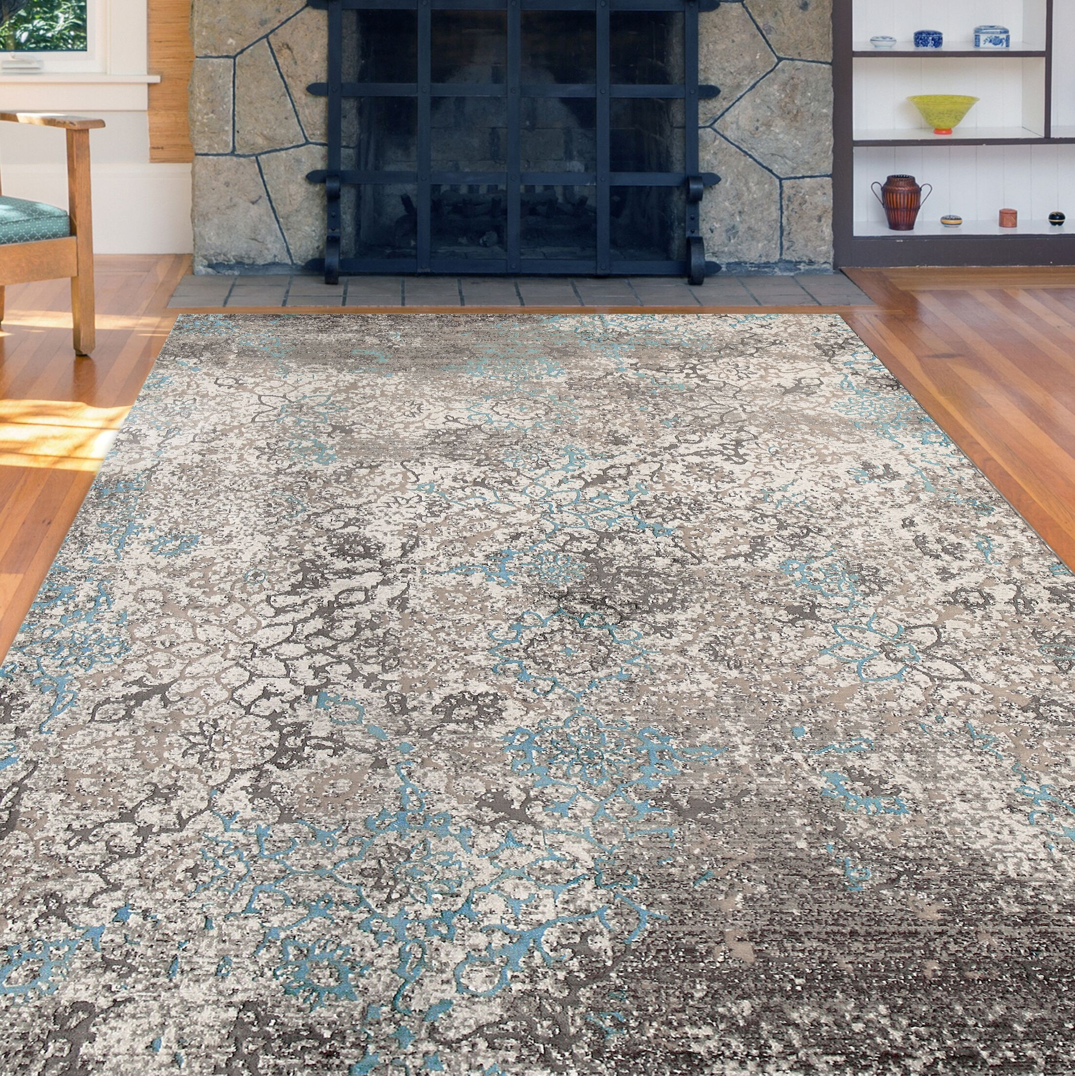 Cambridge Aqua/Brown Area Rug Rug Size: Runner 2'6