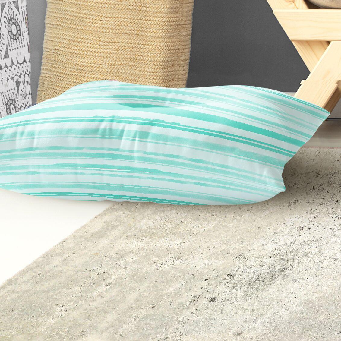 Watercolor Stripe Indoor/Outdoor Floor Pillow Size: 26