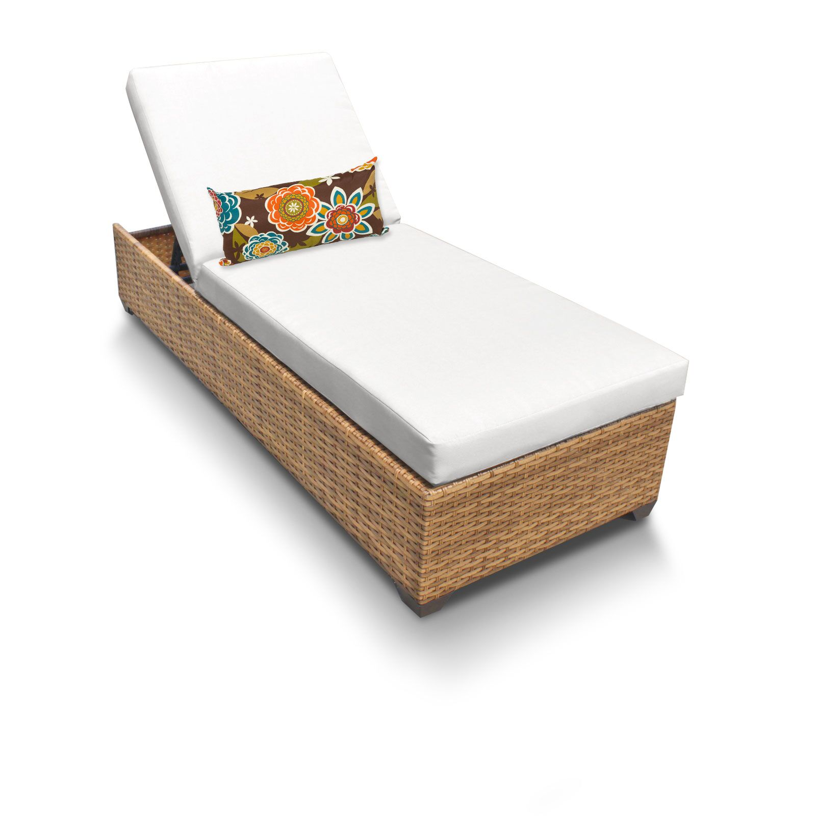 Asellus Chaise Lounge with Cushions Color: White