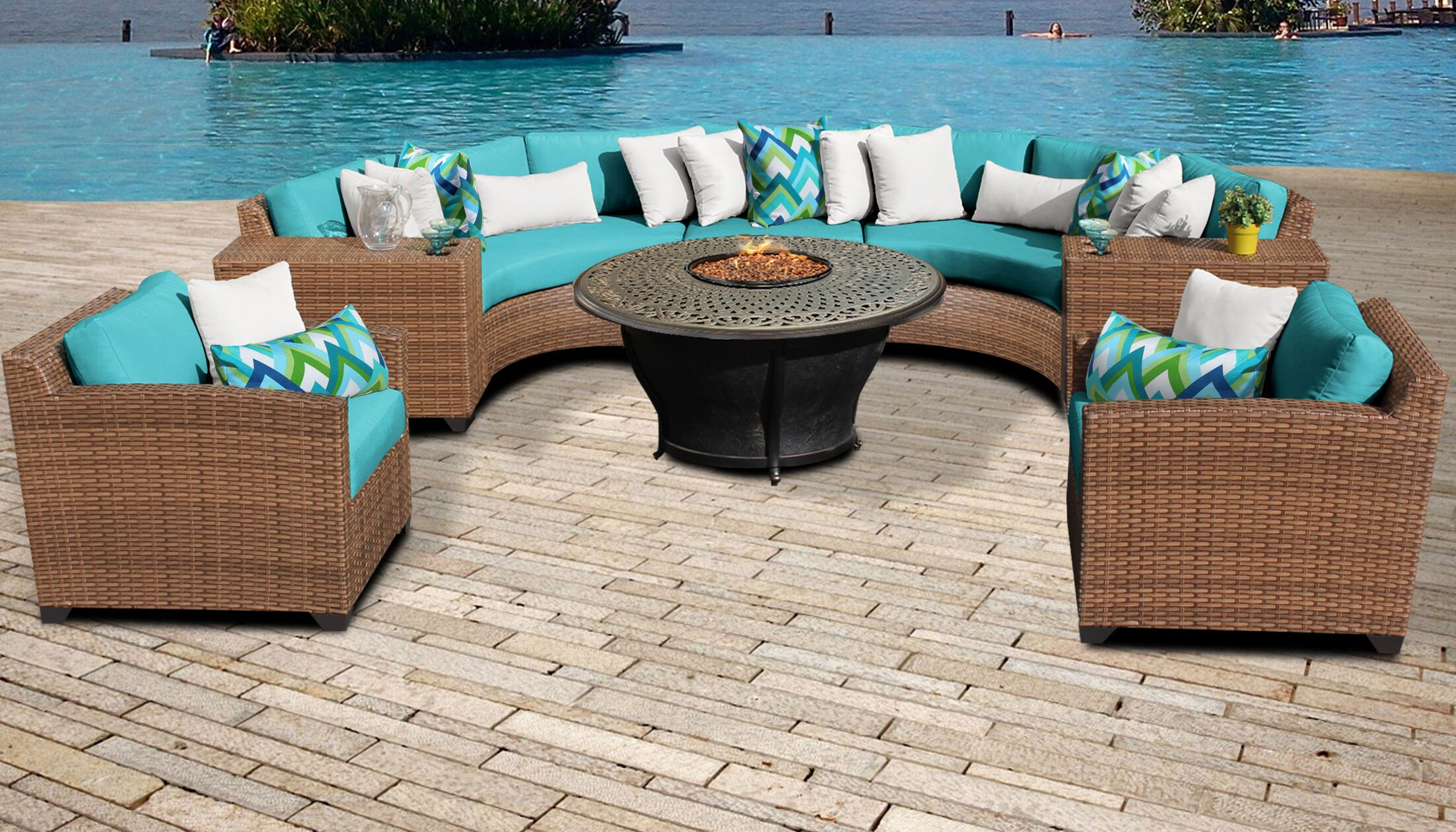Asellus 8 Piece Sectional Set with Cushions Color: Aruba