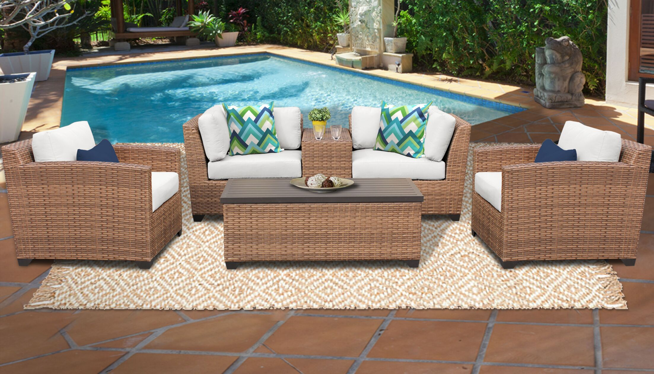 East Village 6 Piece Rattan Sectional Set with Cushions Color: White