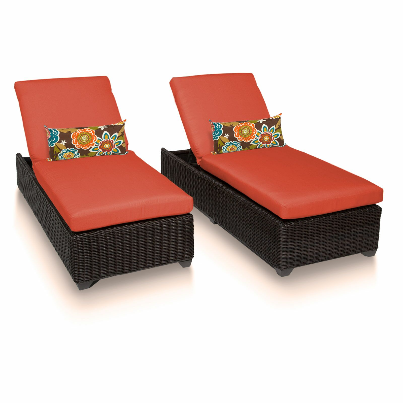 Eldredge Chaise Lounge with Cushion Color: Tangerine