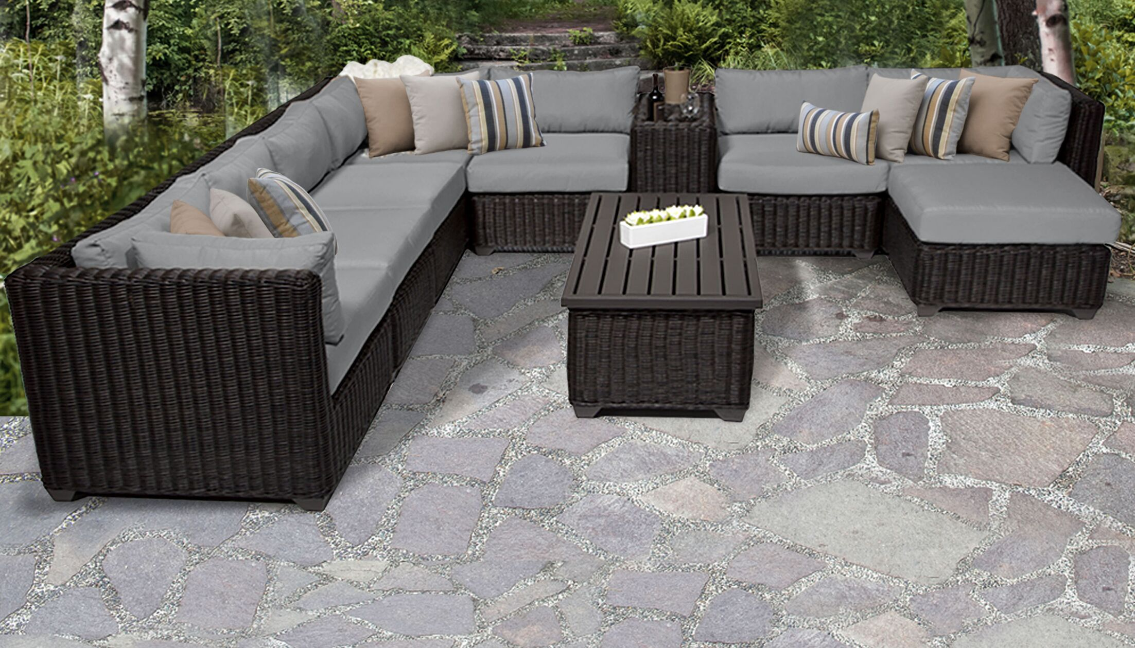 Eldredge 10 Piece Sectional Set with Cushions Color: Gray