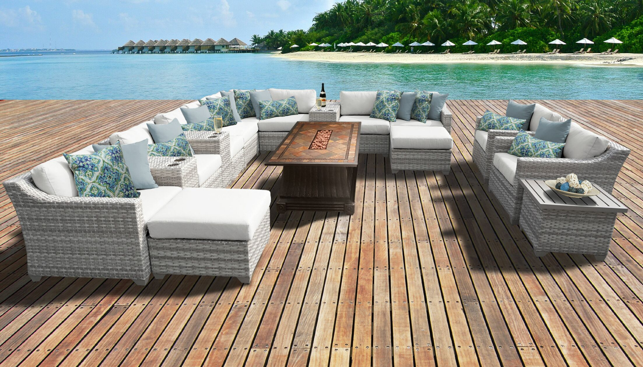 Ansonia 17 Piece Sectional Set with Cushions Color: White