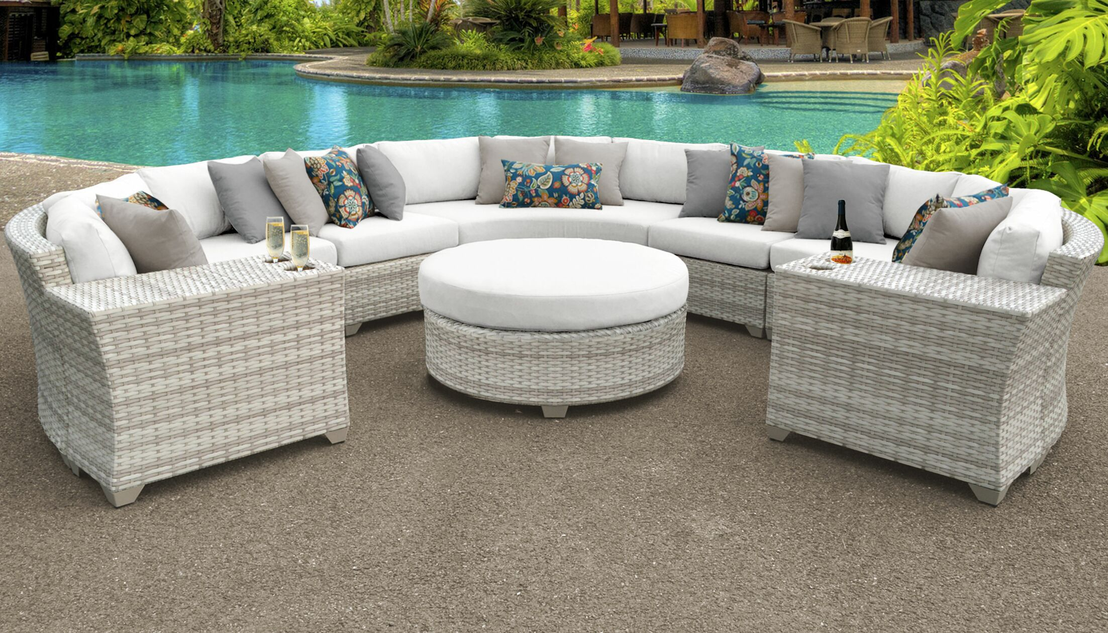 Ansonia 8 Piece Sectional Set with Cushions Color: White