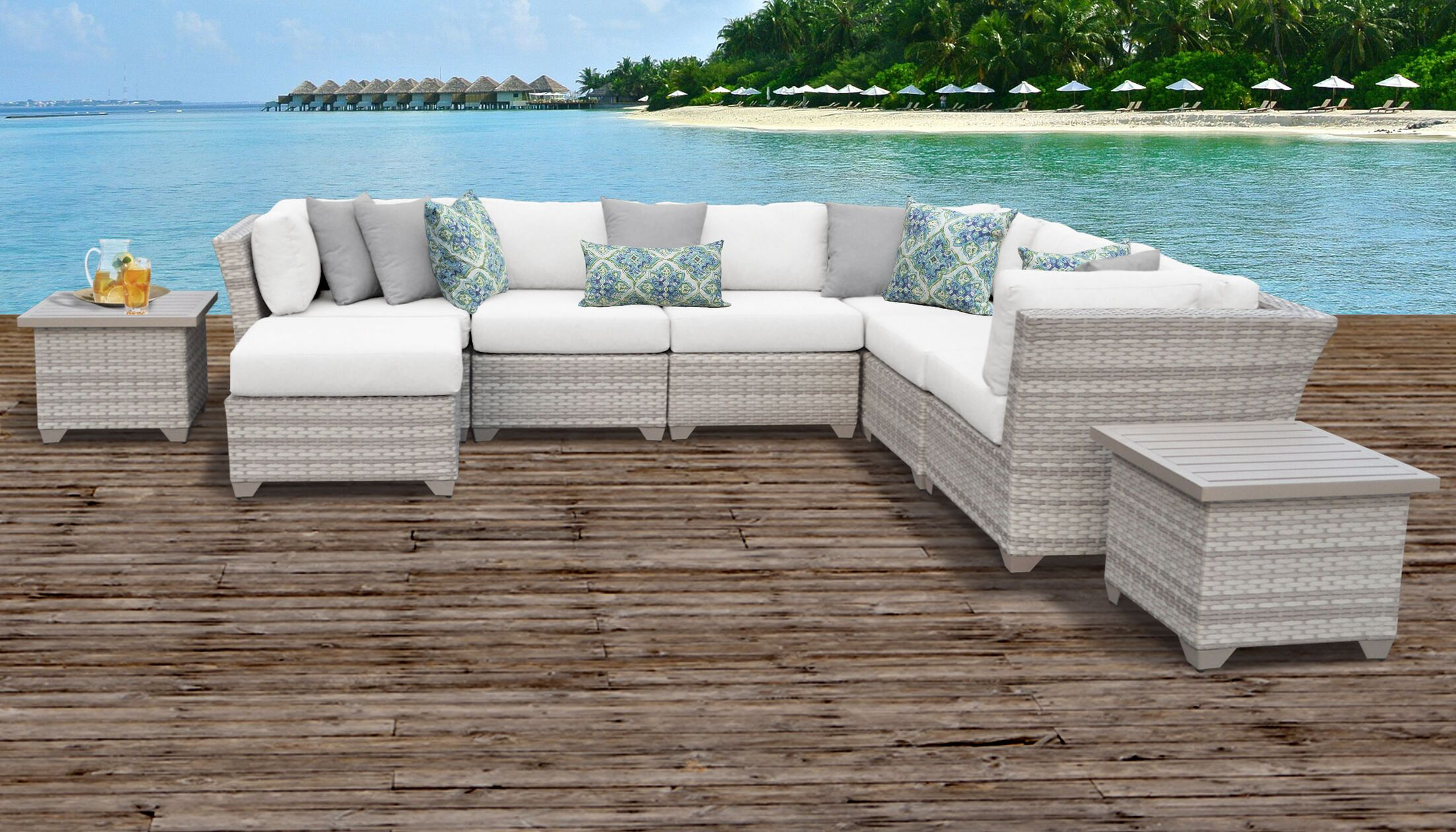 Ansonia 9 Piece Sectional Set with Cushions Color: White
