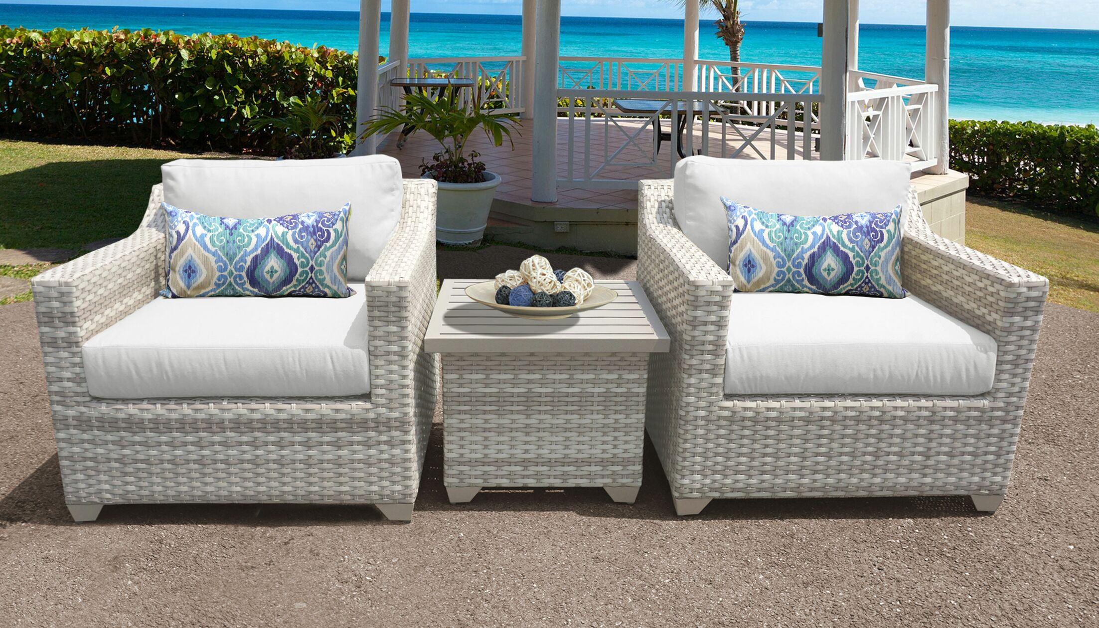Ansonia 3 Piece Conversation Set with Cushions Color: White