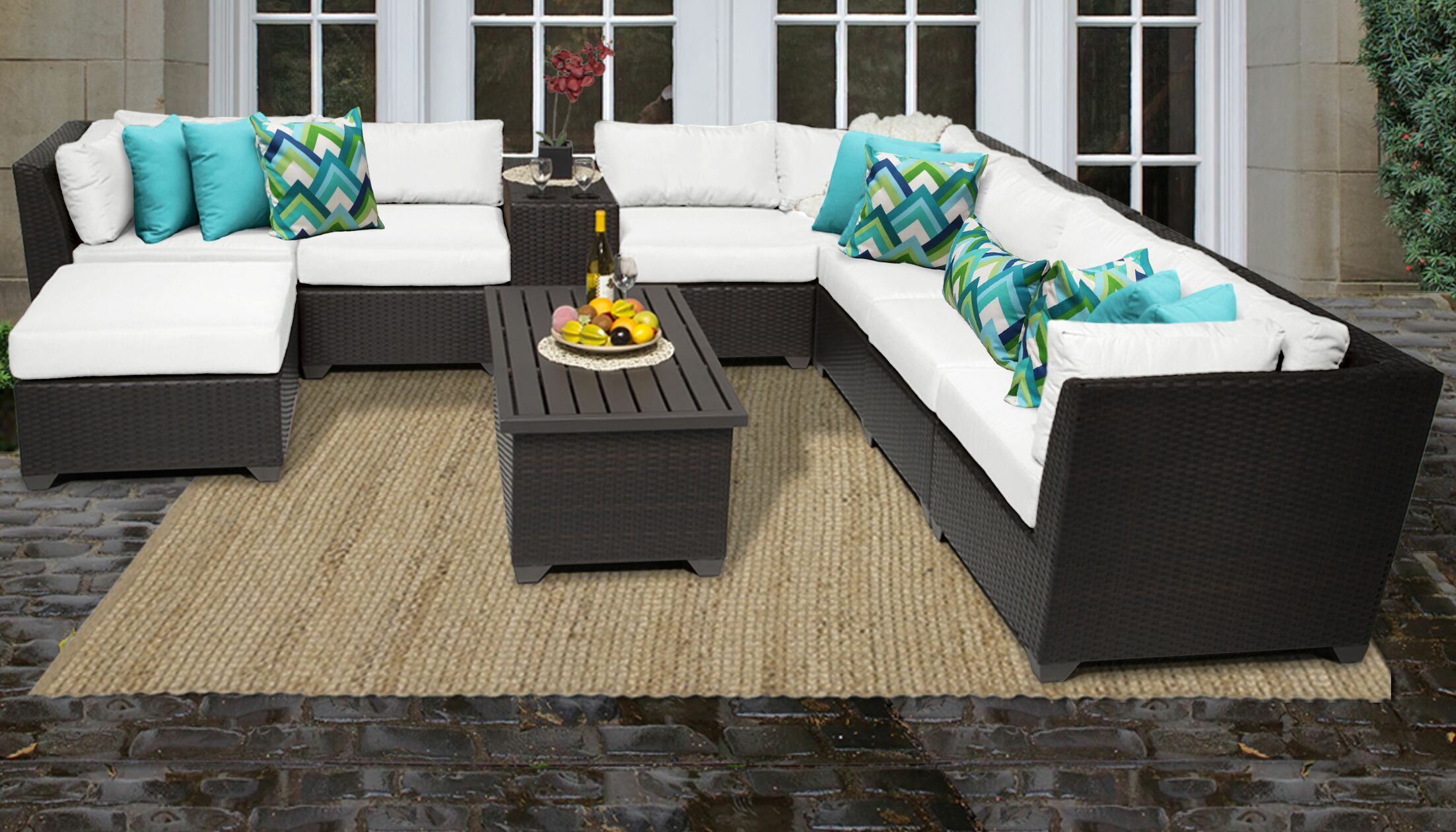 Barbados 10 Piece Rattan Sectional Set with Cushions Color: White