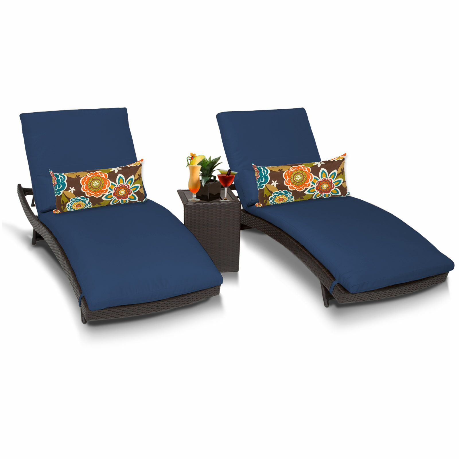 Bali 3 Piece Chaise Lounge Set with Cushion Color: Navy