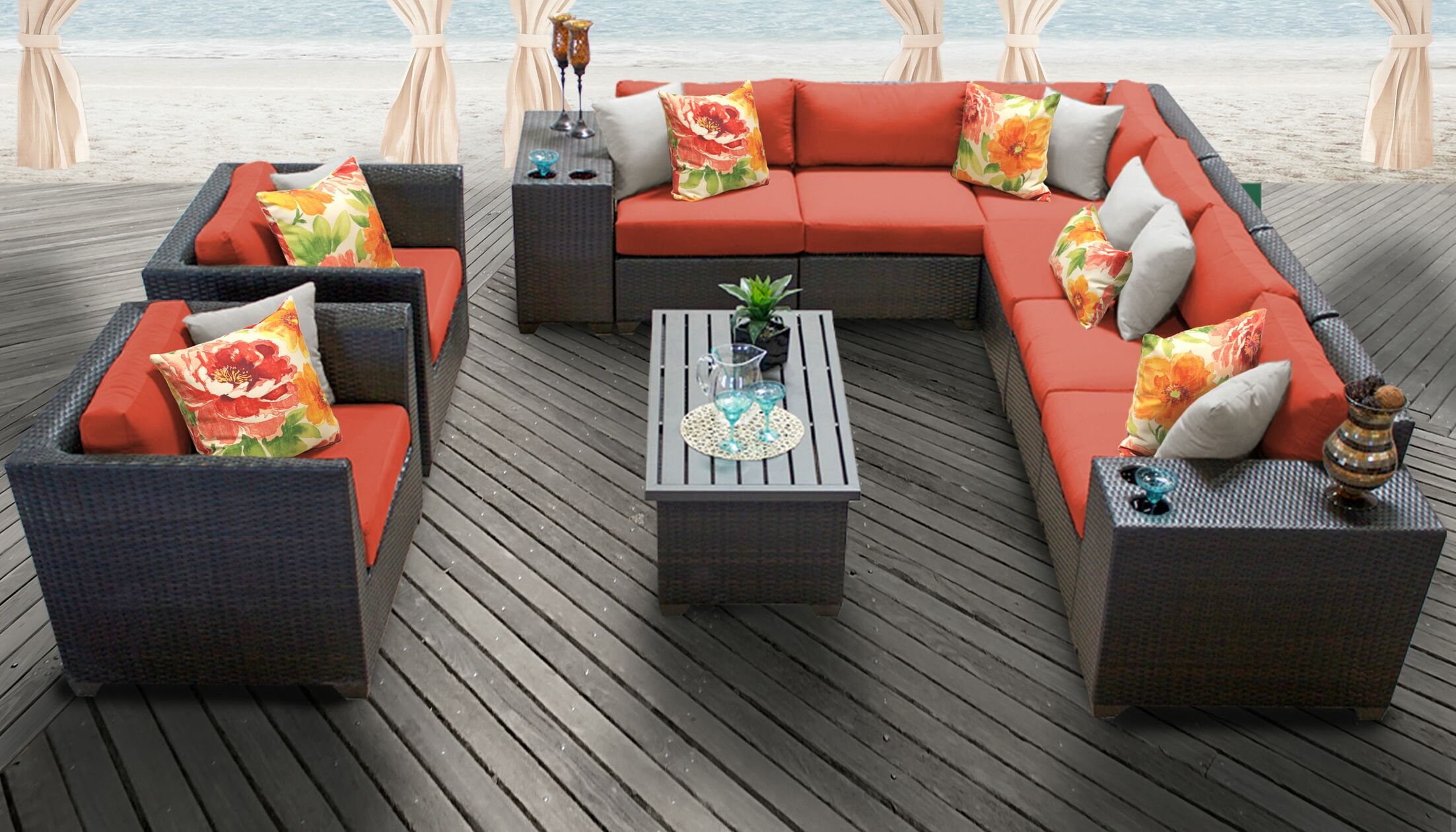 Barbados 11 Piece Rattan Sectional Set with Cushions Color: Tangerine