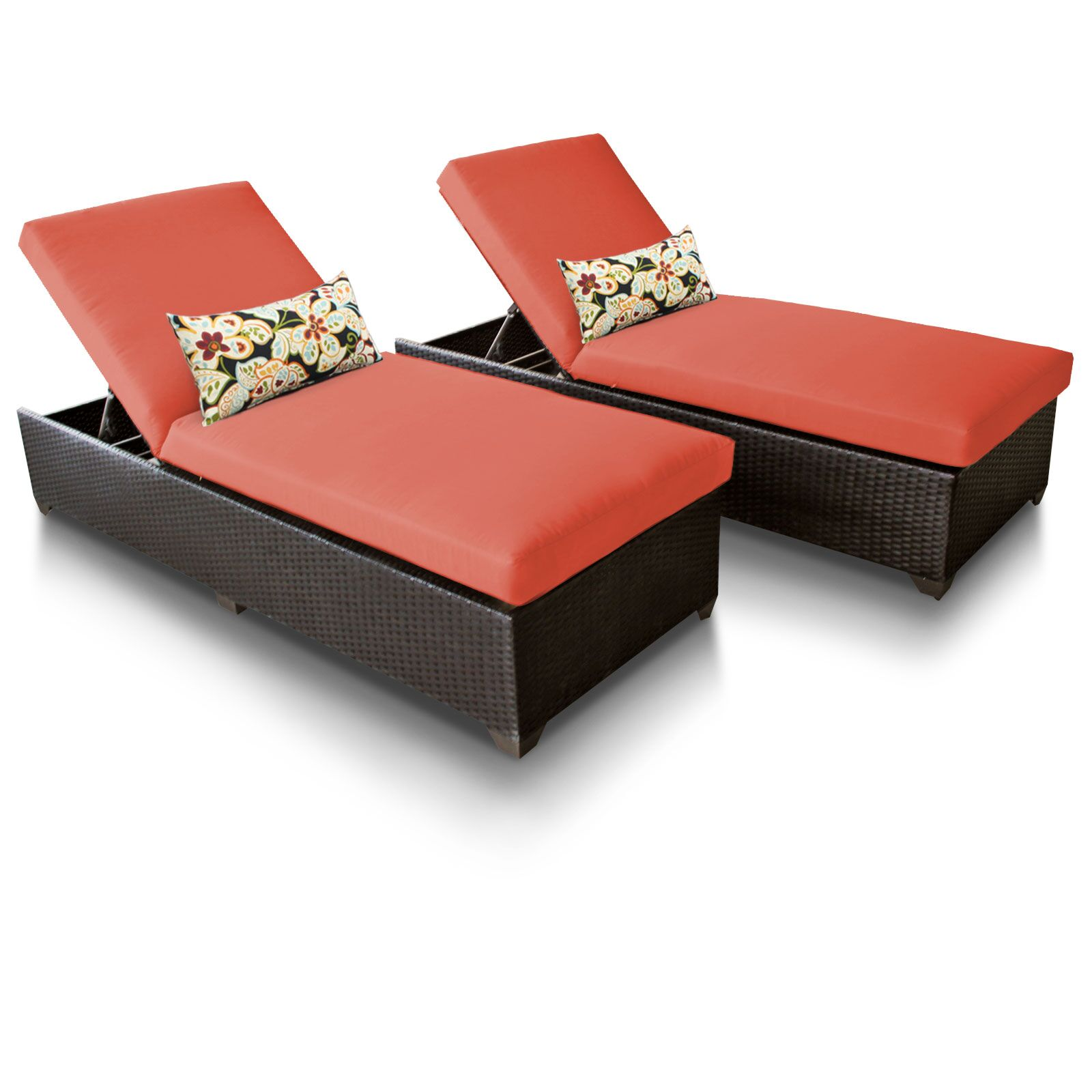 Classic Chaise Lounge with Cushion Color: Tangerine