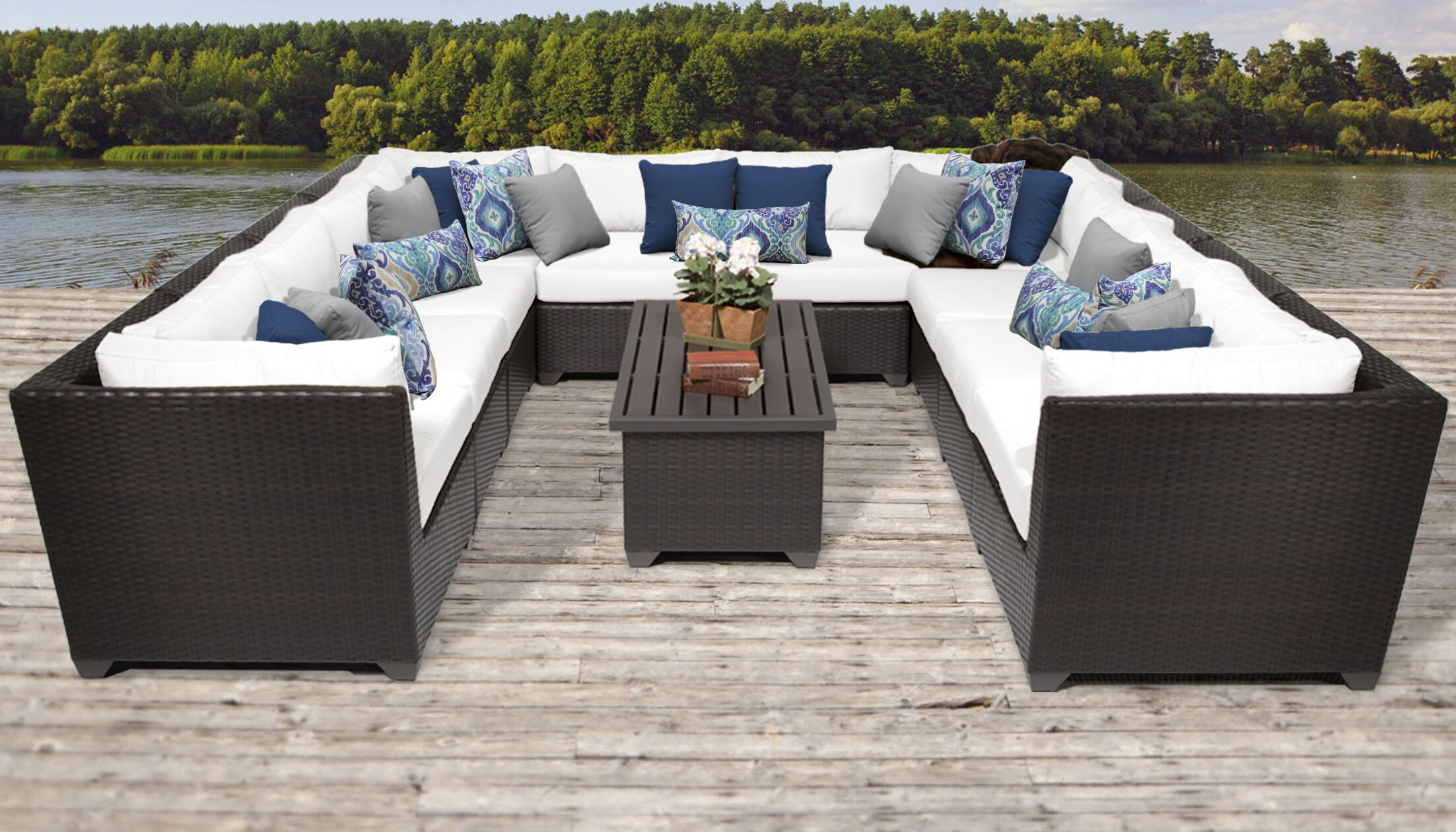 Barbados 11 Piece Rattan Sectional Set with Cushions Color: White