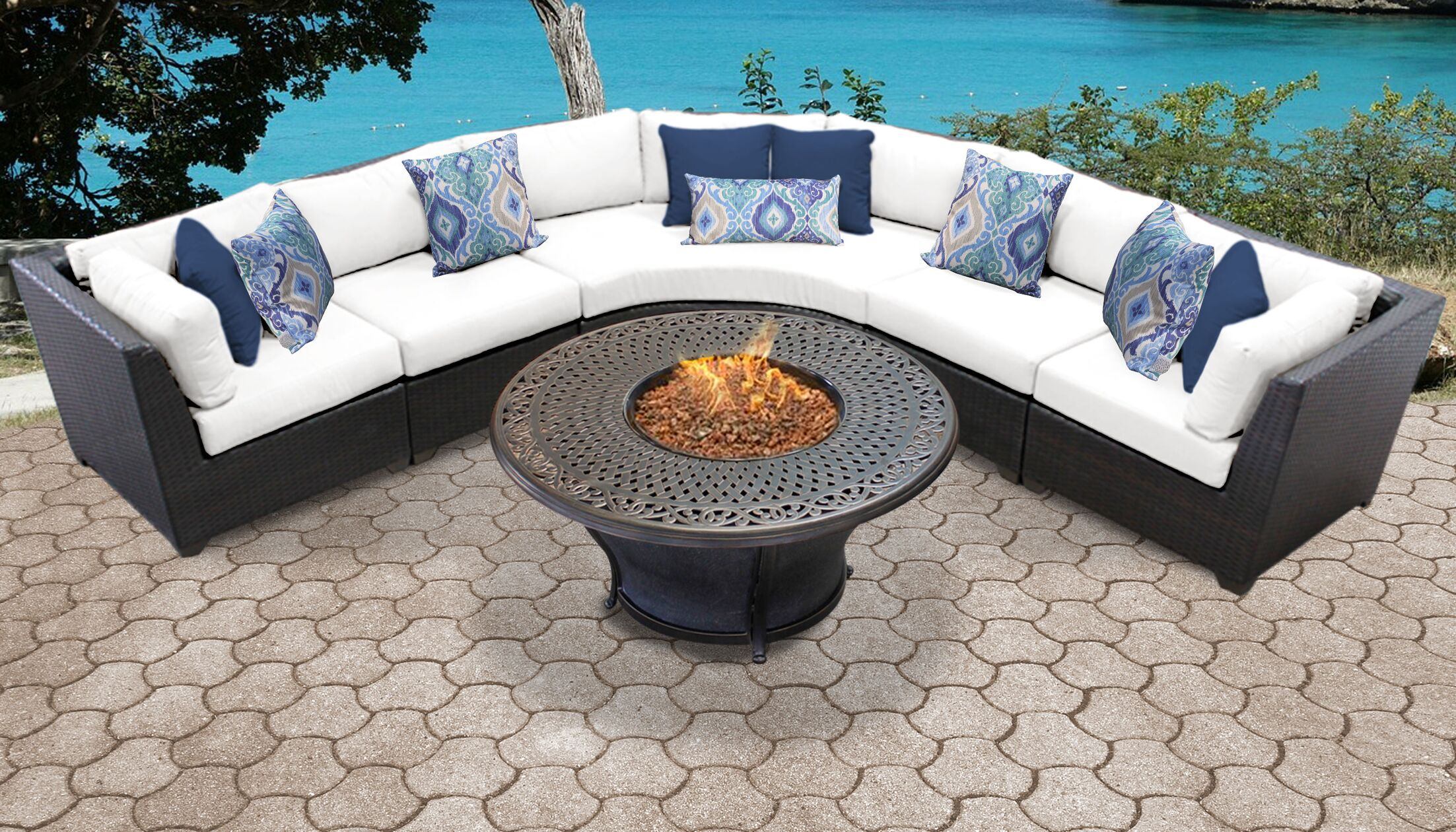 Barbados 6 Piece Sectional Set with Cushions Color: White