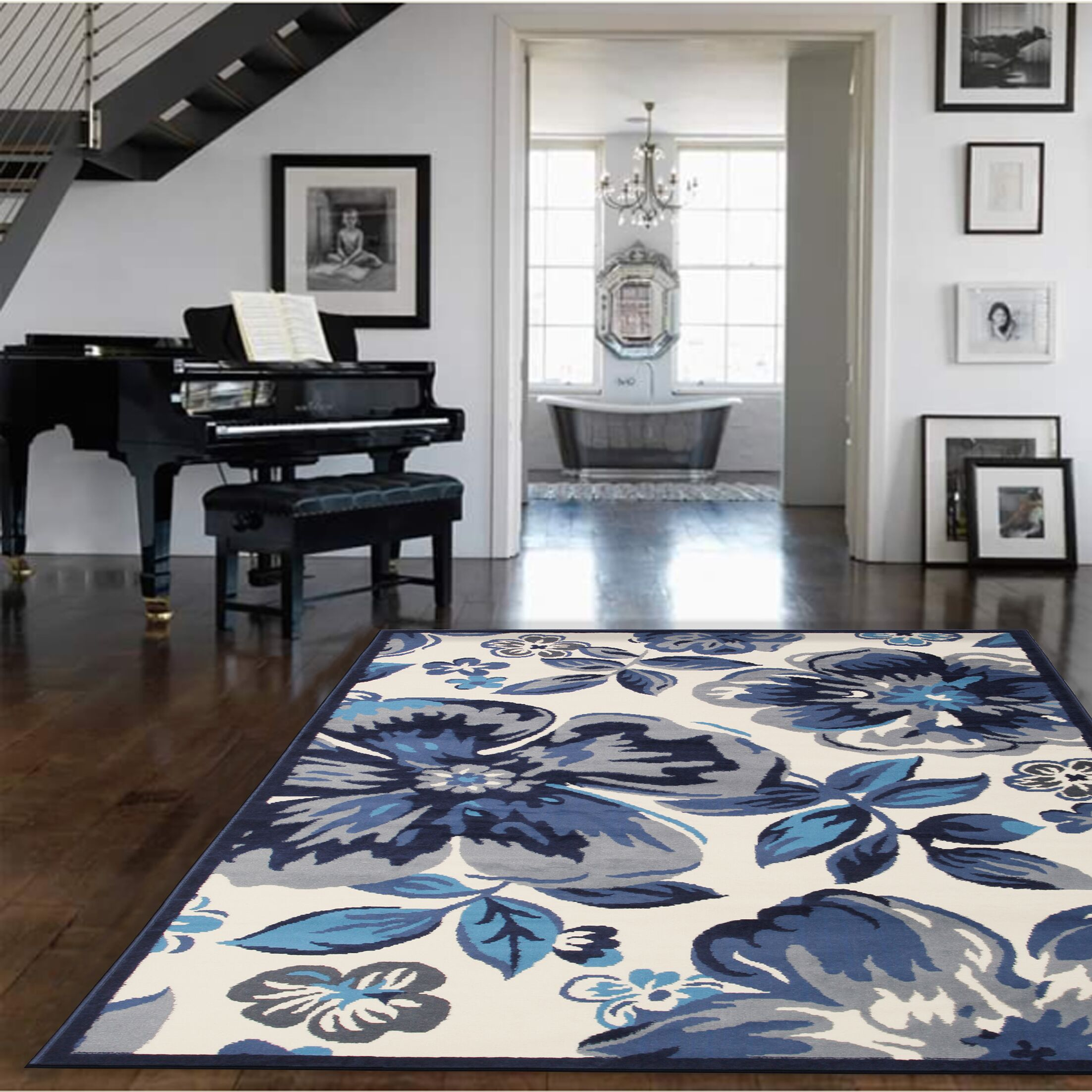 Bonner White/Blue Area Rug Rug Size: Rectangle 8' x 10'