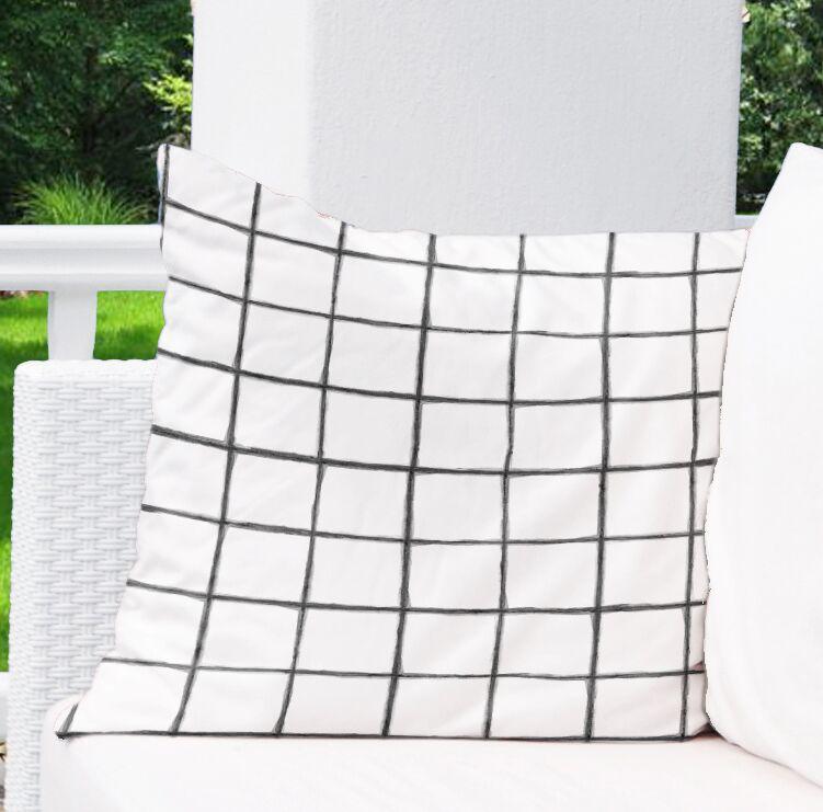 Watercolor Check Indoor/Outdoor Euro Pillow Color: Black/White