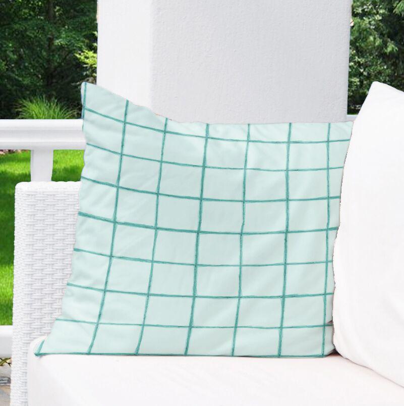 Watercolor Check Indoor/Outdoor Euro Pillow Color: Mint