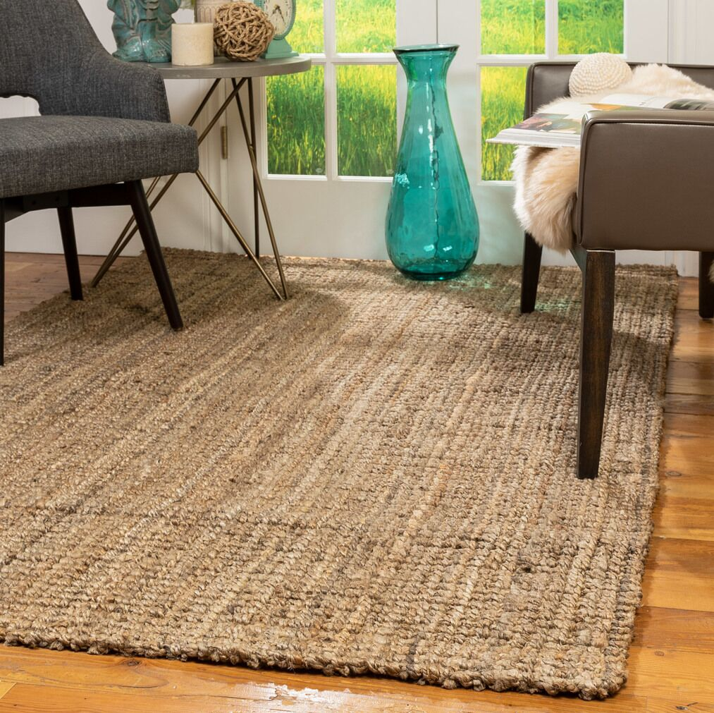 Rasen Hand-Knotted Beige Area Rug Rug Size: Rectangle 6' x 9'