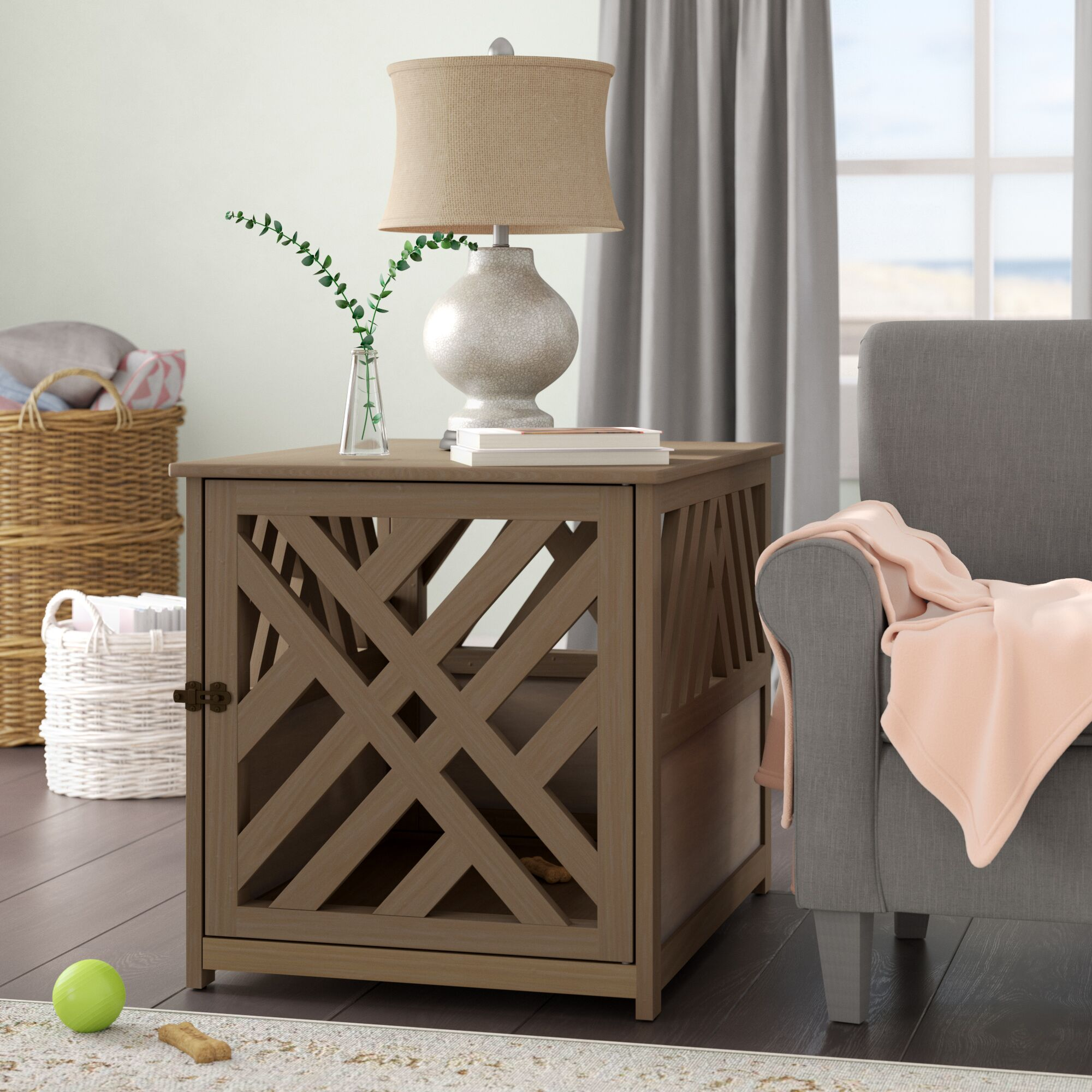 Menzel Modern Lattice Pet Crate End Table