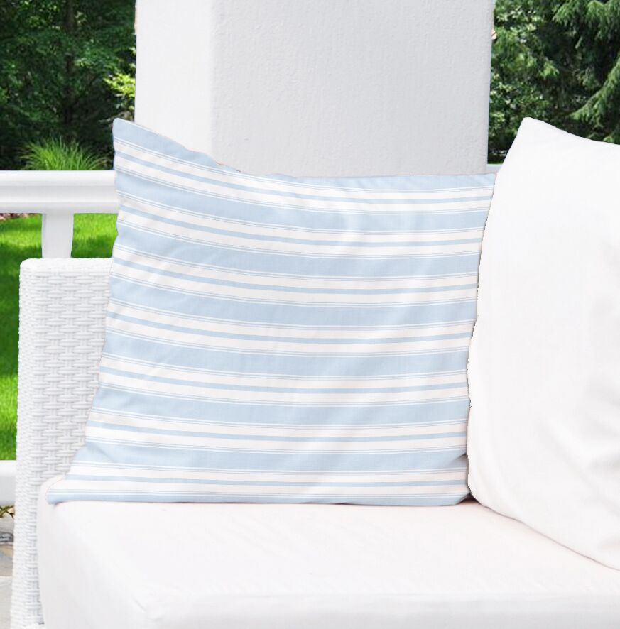 Classic Stripe Largescale Indoor/Outdoor Throw Pillow Size: 18