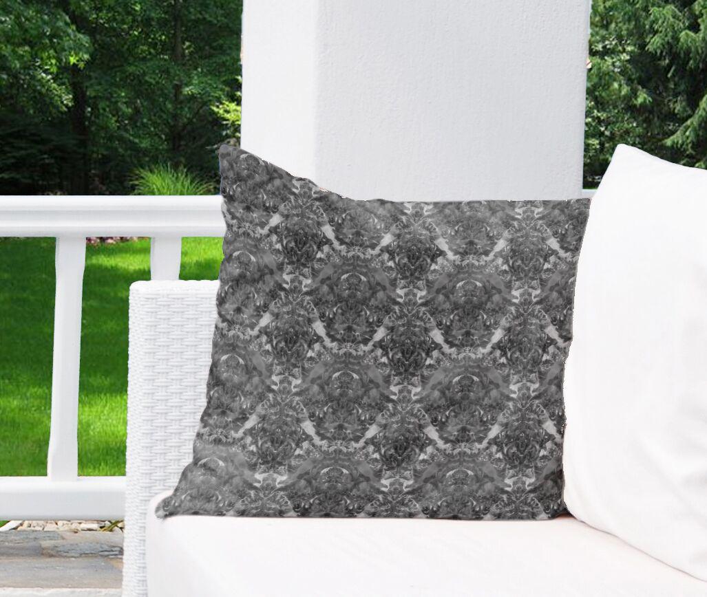 Inkblot Watercolor Damask Indoor/Outdoor Euro Pillow Color: Brown