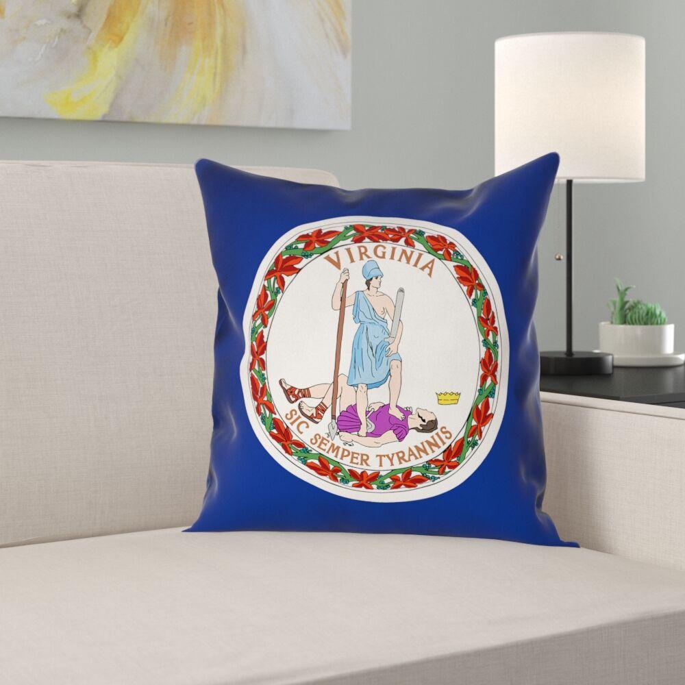 Virginia Flag Linen Pillow Cover Size: 16