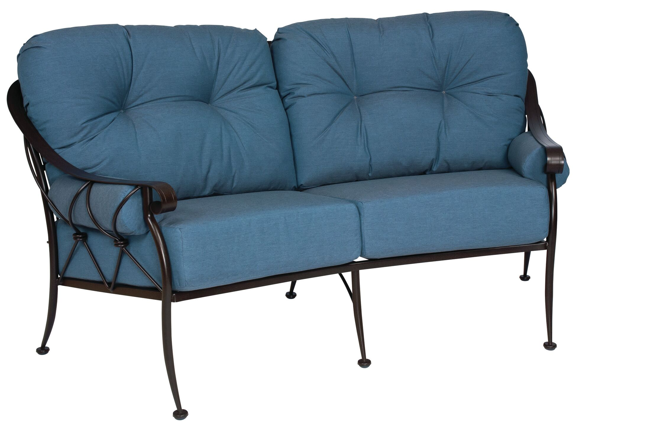 Derby Crescent Loveseat with Cushions Color: Canvas Parrot
