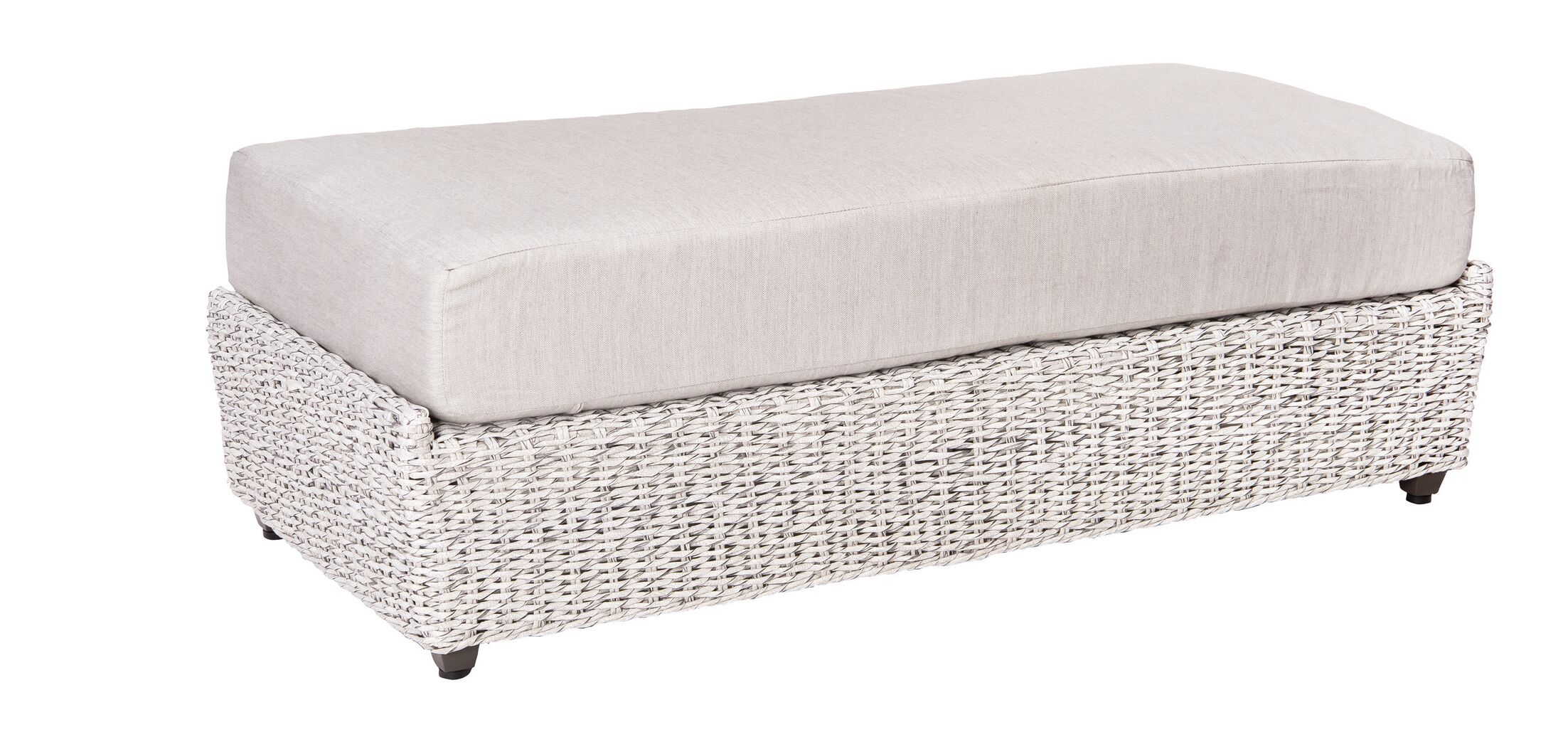 Isabella Ottoman With Cushion Fabric: Sunbrella White