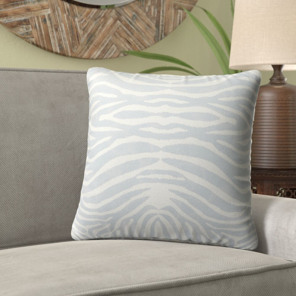 Nerbone Burlap Indoor/Outdoor Throw Pillow Color: Blue/ Ivory, Size: 18