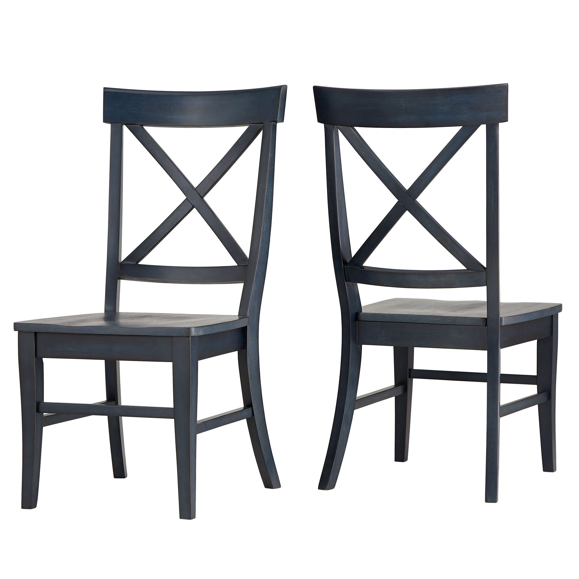 Fortville X-back Solid Wood Dining Chair Color: Navy
