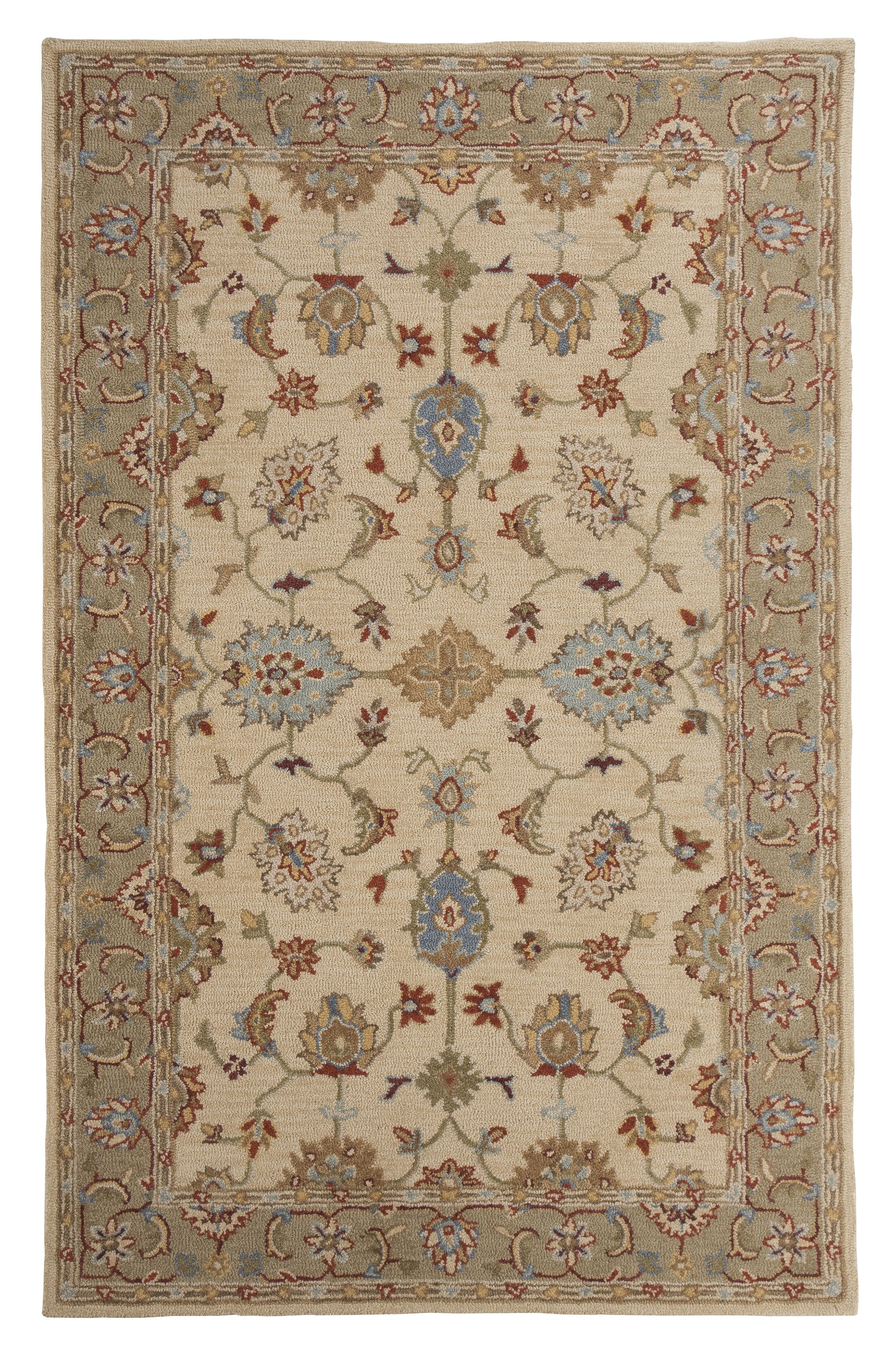 Yarber Hand-Tufted Wool Beige/Green/Blue Area Rug Rug Size: Rectangle 8' x 10'