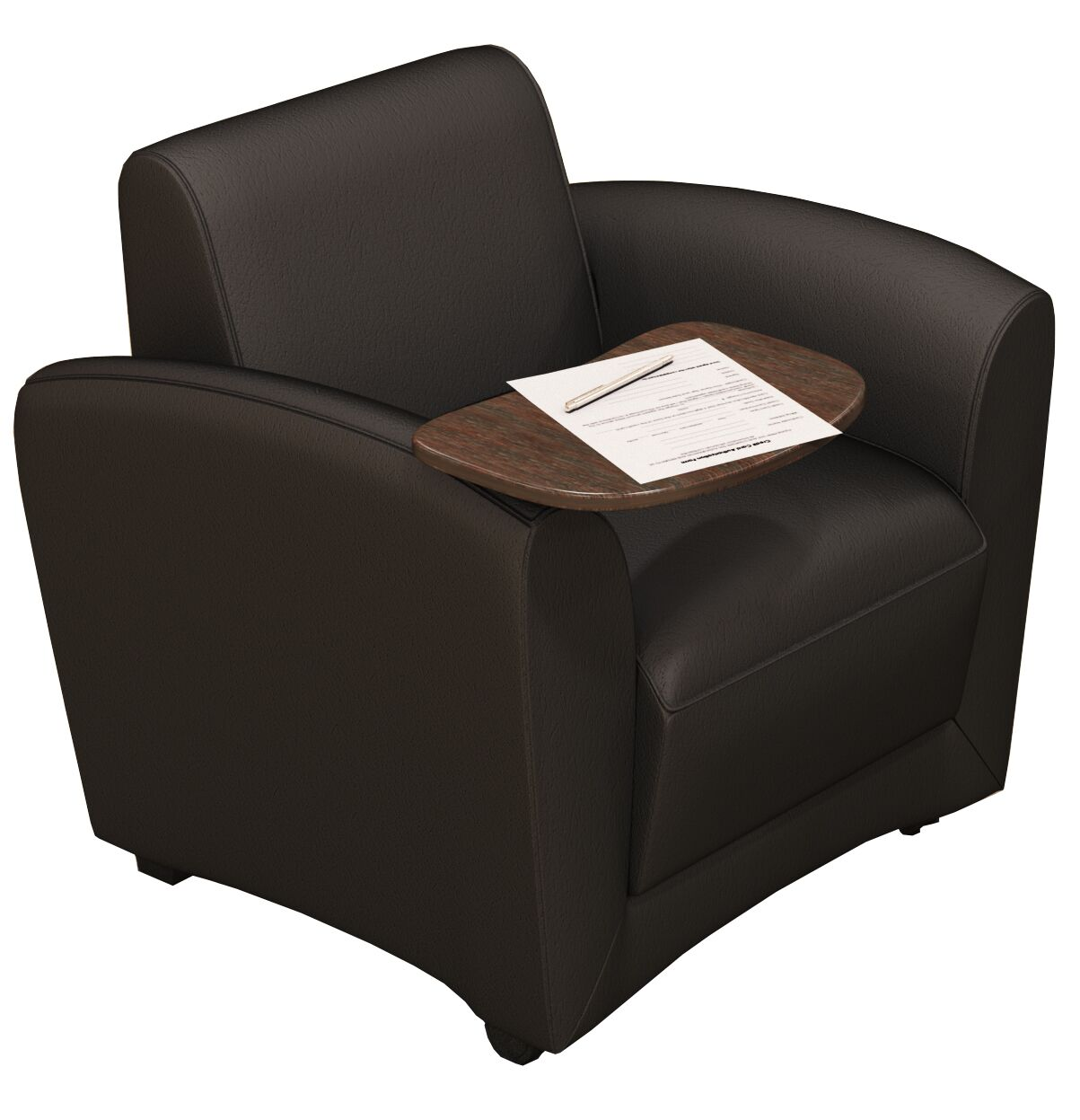 Leather Lounge Series Santa Cruz Mobile Leather Lounge Chair with Tablet Color: Black