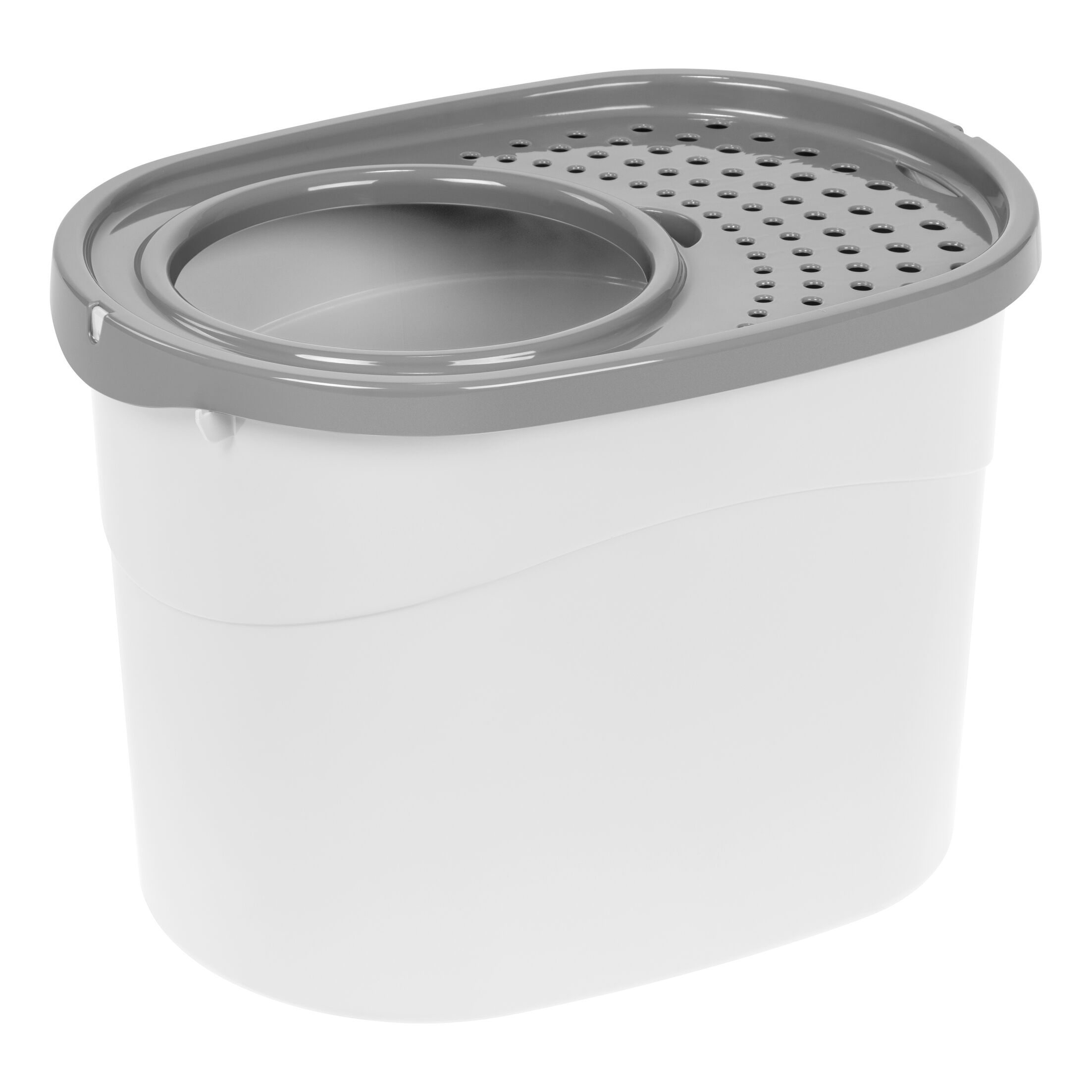Roo Top Entry Litter Box Color: White/Gray