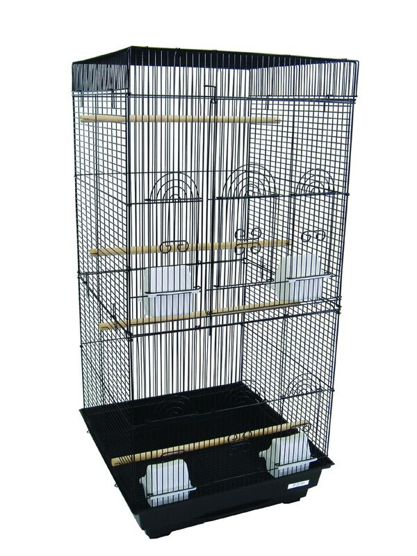 Tall Square Top Small Bird Cage Color: Black