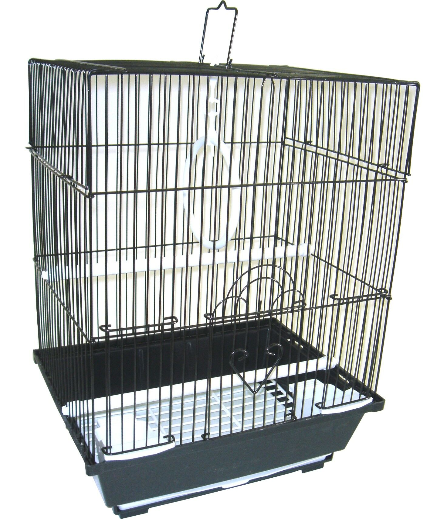 Flat Top Small Parakeet Cage with Food Access Door Color: Black