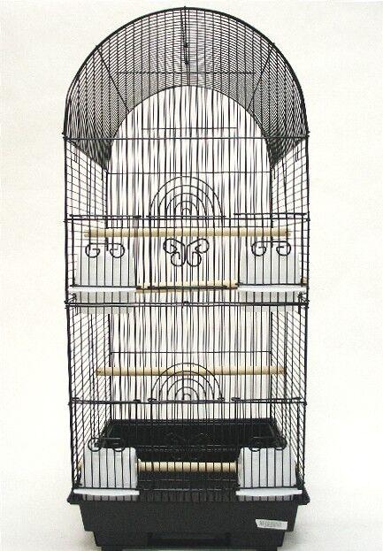Tall Round 4 Perch  Bird Cage Color: Black