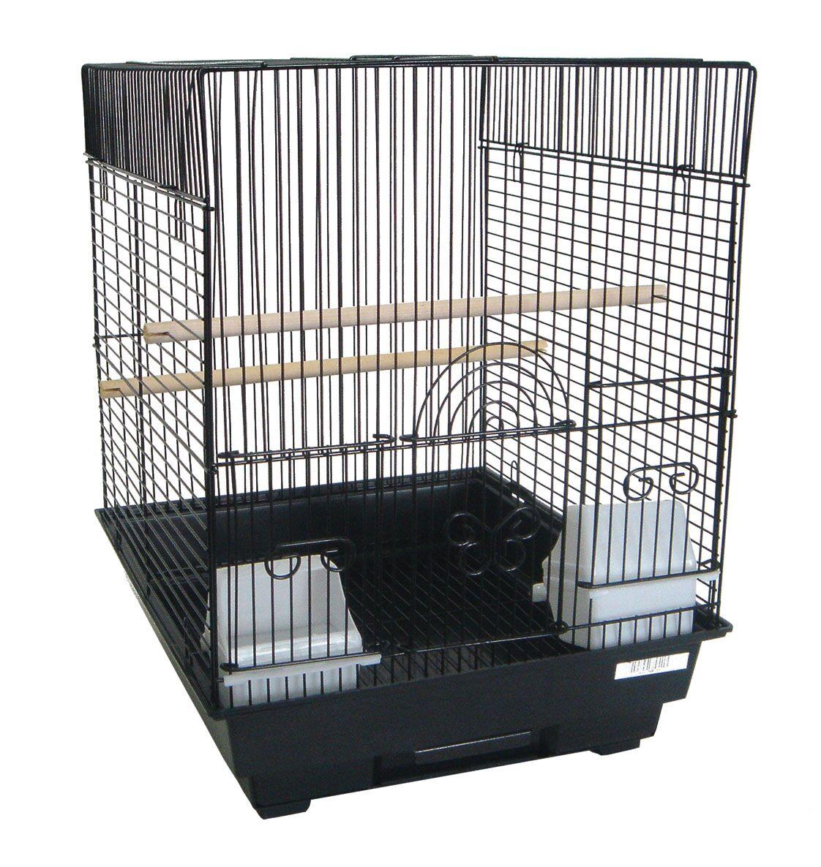 Flat Top Bird Cage Color: Black
