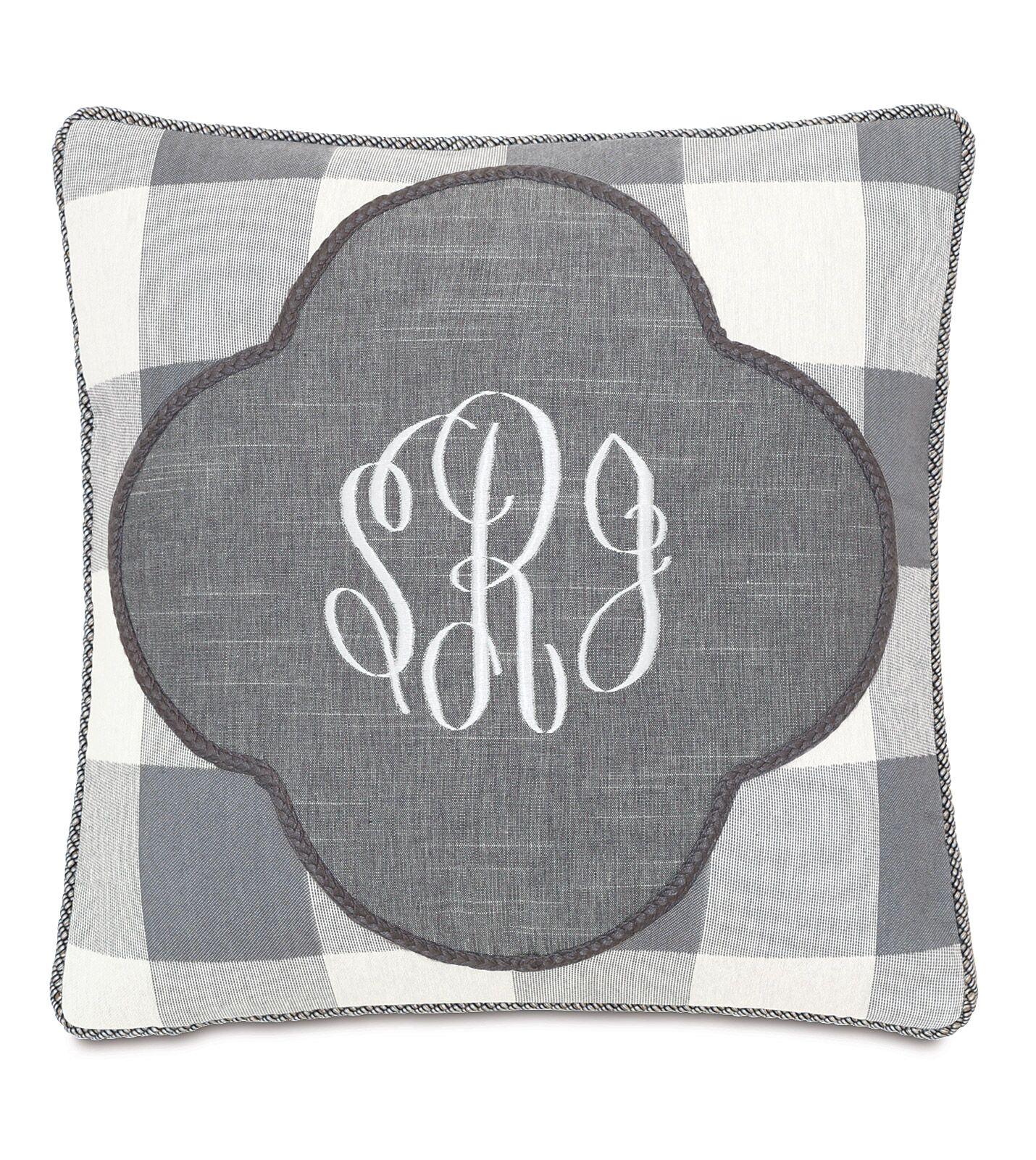 Hampshire Duvall Slate Monogrammed Throw Pillow