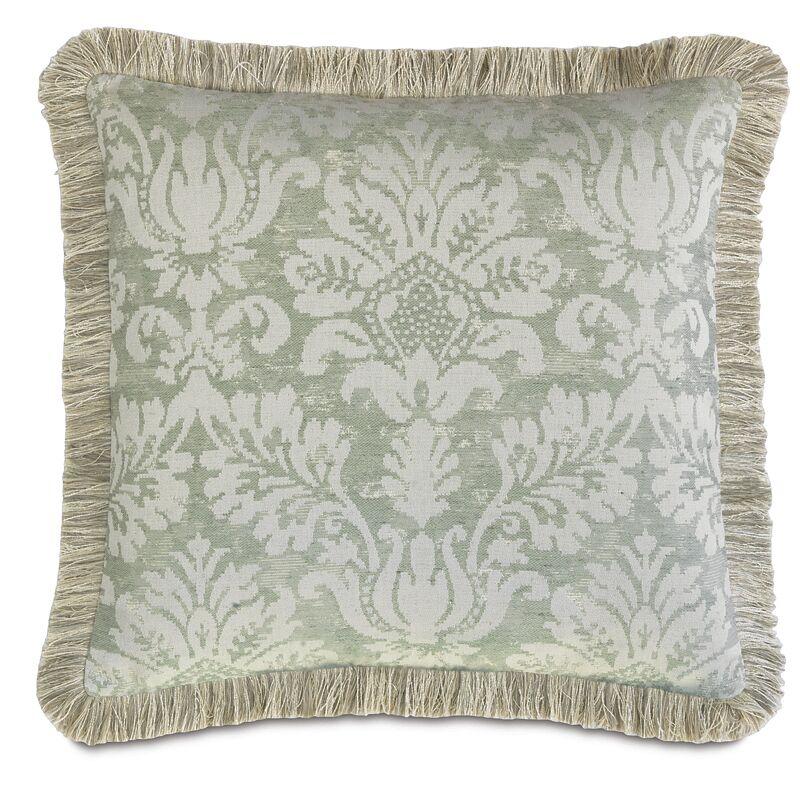 Lourde Celadon Brush Fringe Throw Pillow Size: 22