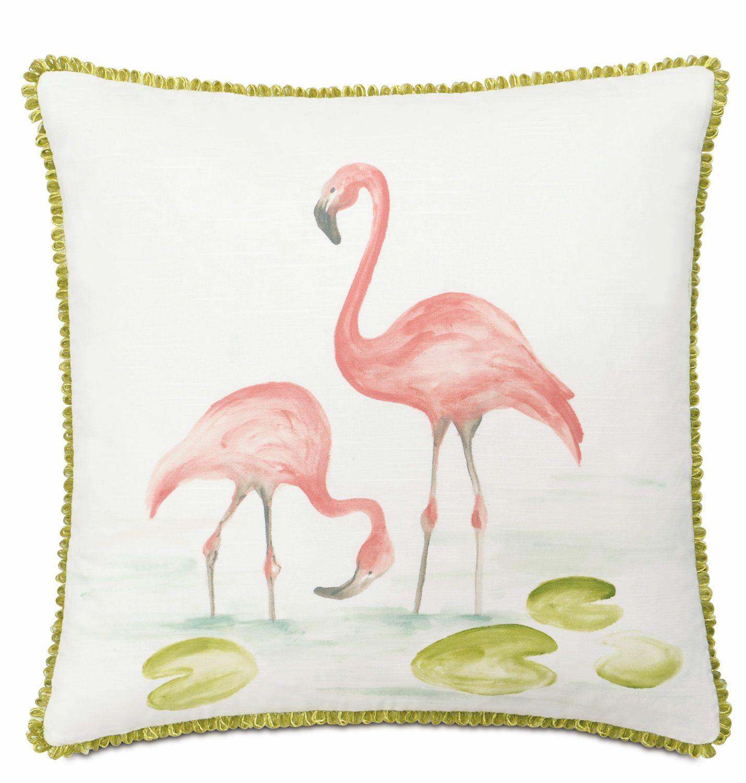 Lavinia Hand-Painted Flamingos Cotton Throw Pillow