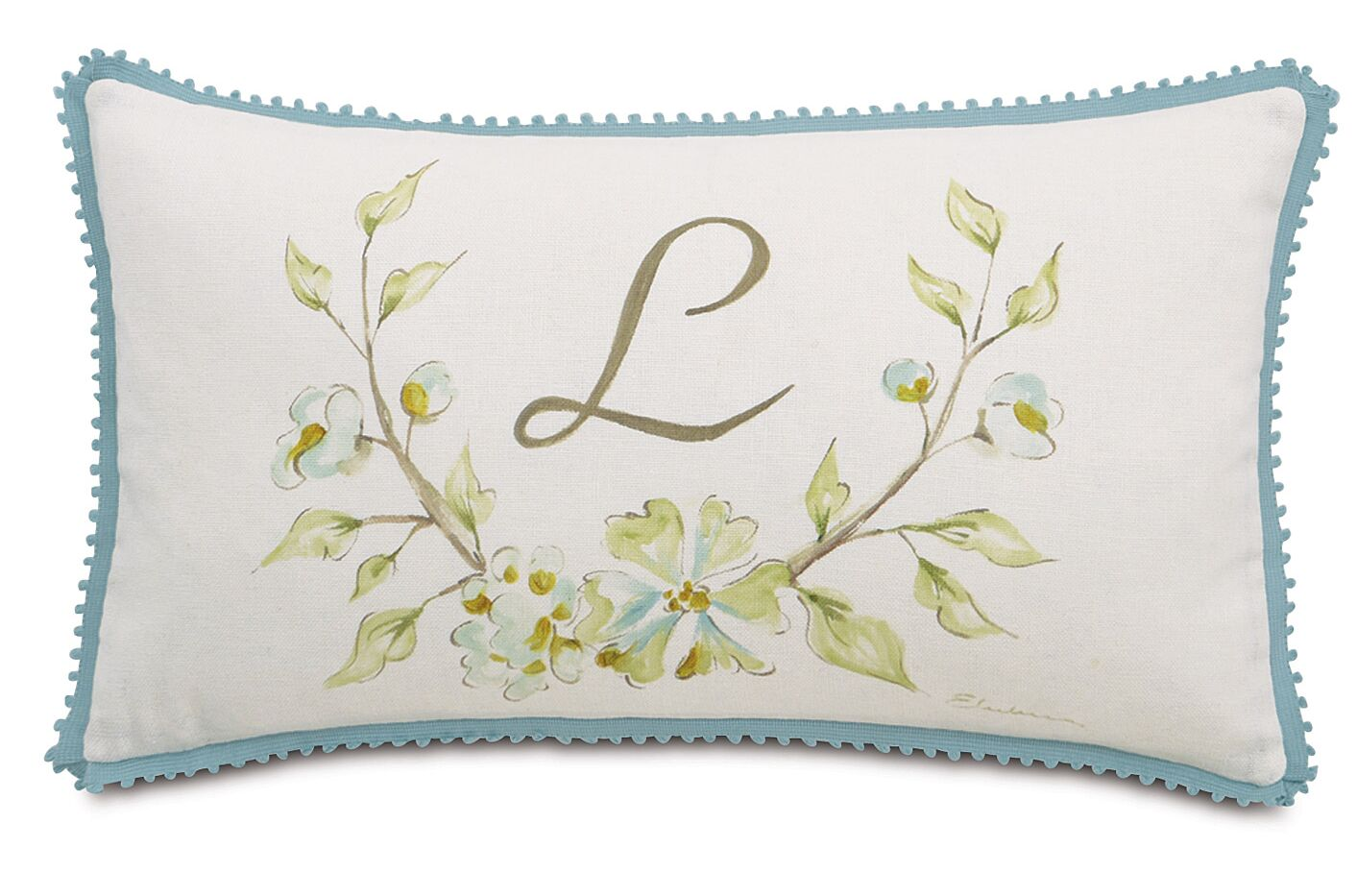 Magnolia Hand-Painted Monogram Fabric Throw Pillow