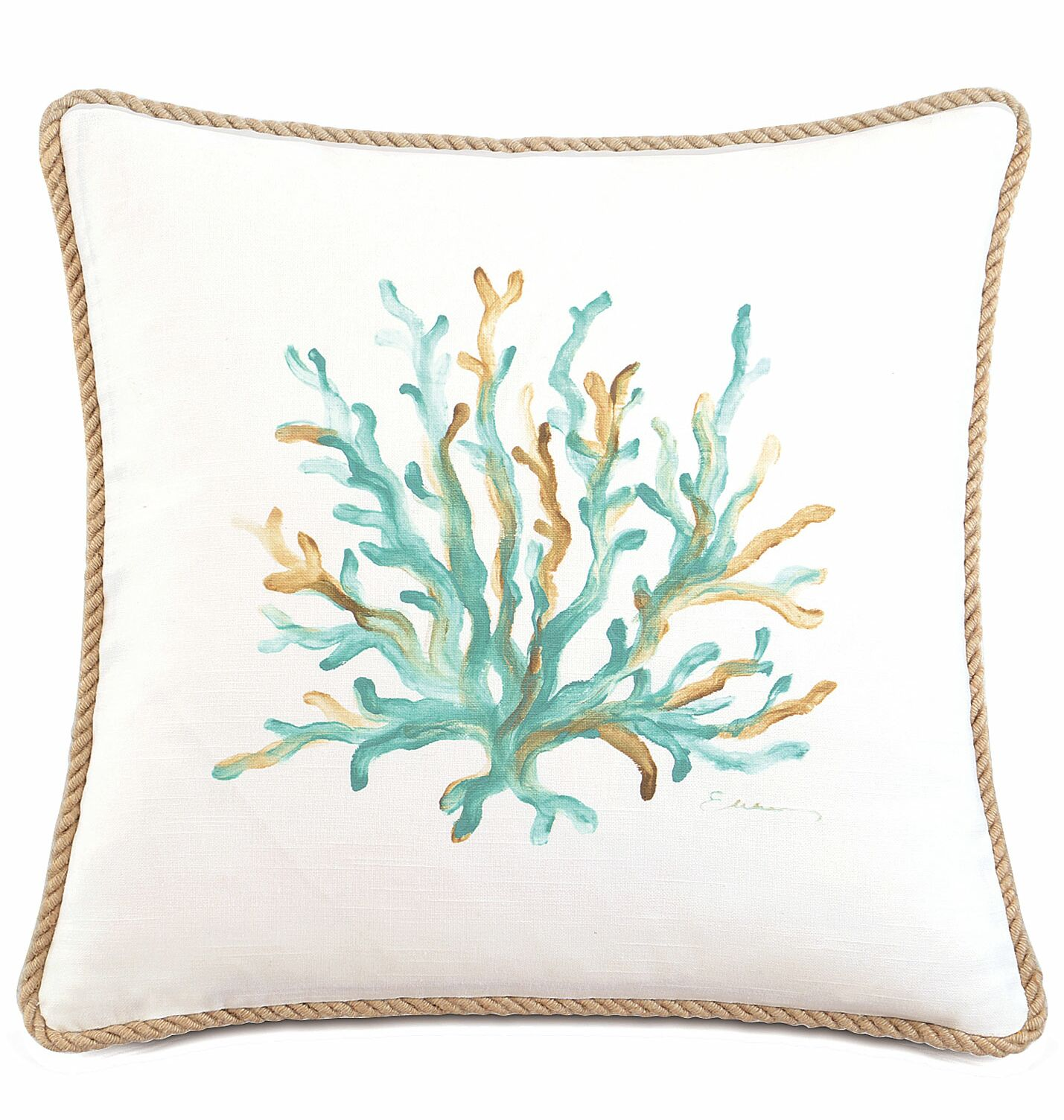 Sumba Hand-Painted Coral Cotton Throw Pillow