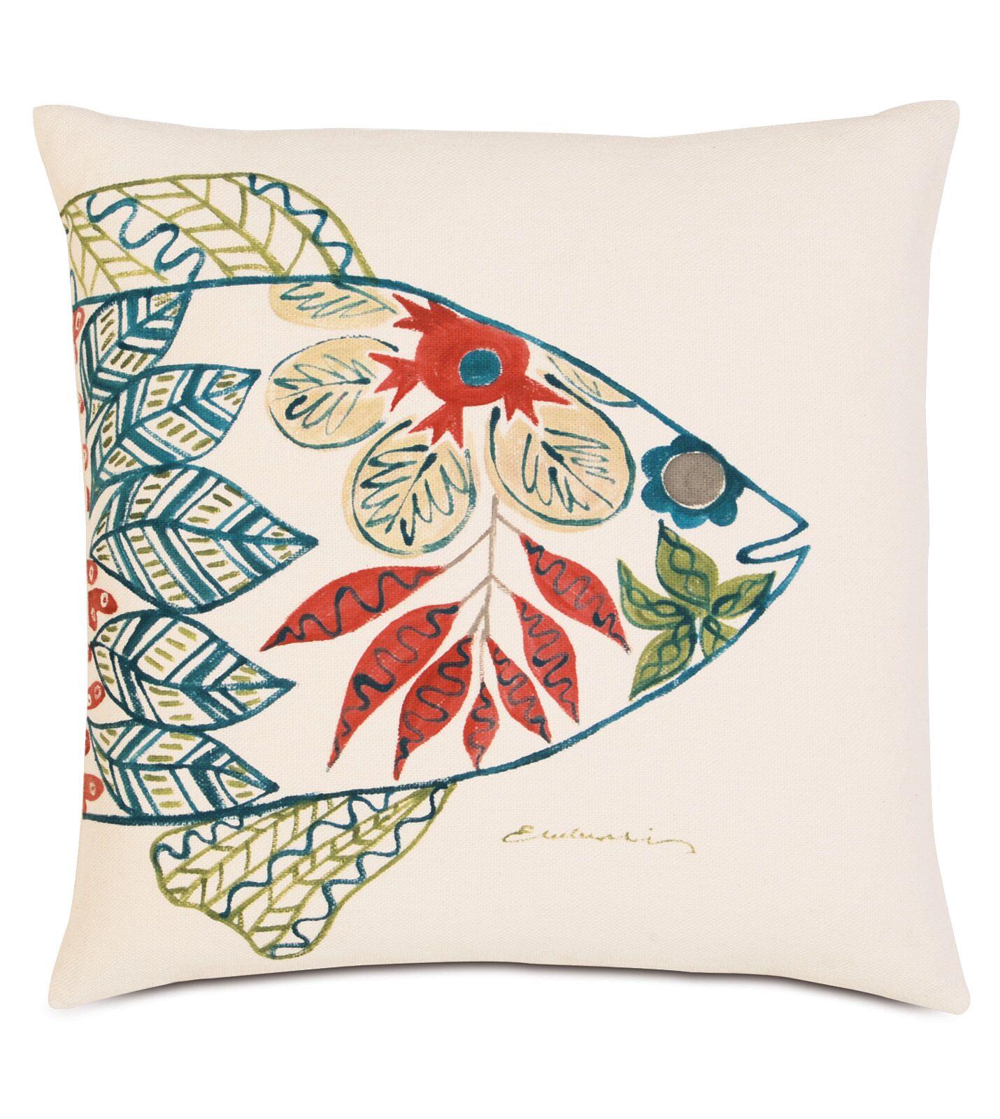 Suwanee Hand-Painted Fish Head Throw Pillow