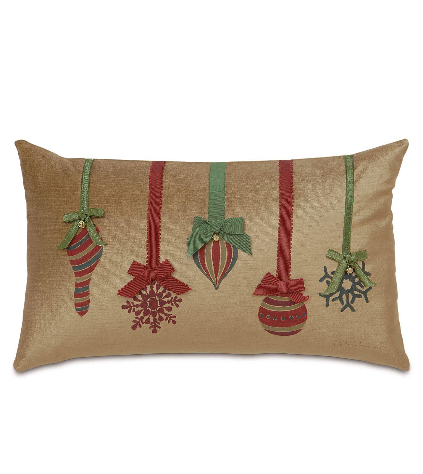 Deck The Halls Festive Ornaments Lumbar Pillow