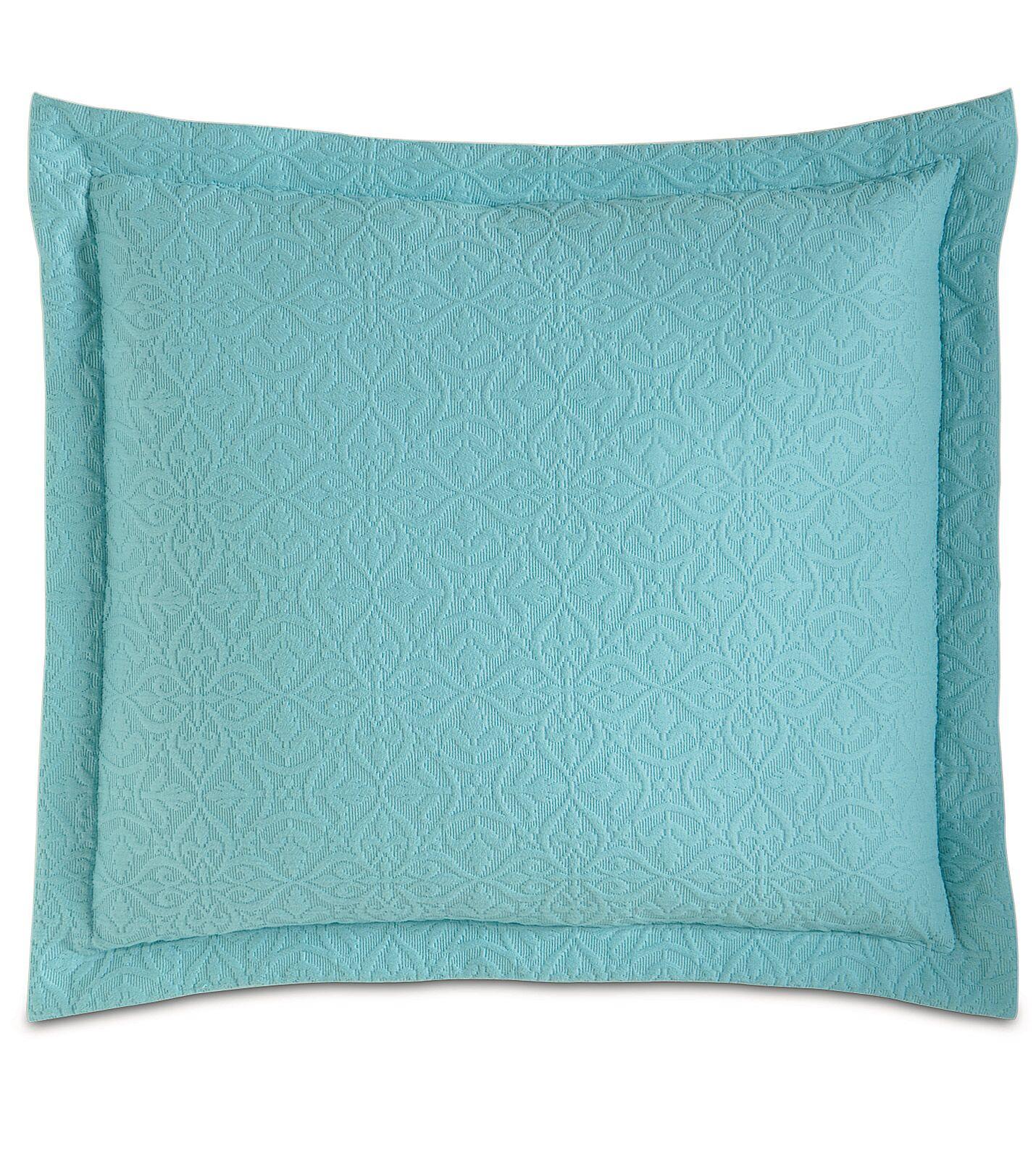 Mea Matelasse Cotton Throw Pillow Color: Aqua