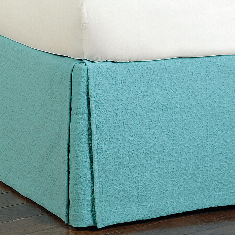 Mea Matelasse Cotton Bed Skirt Color: Aqua, Size: California King