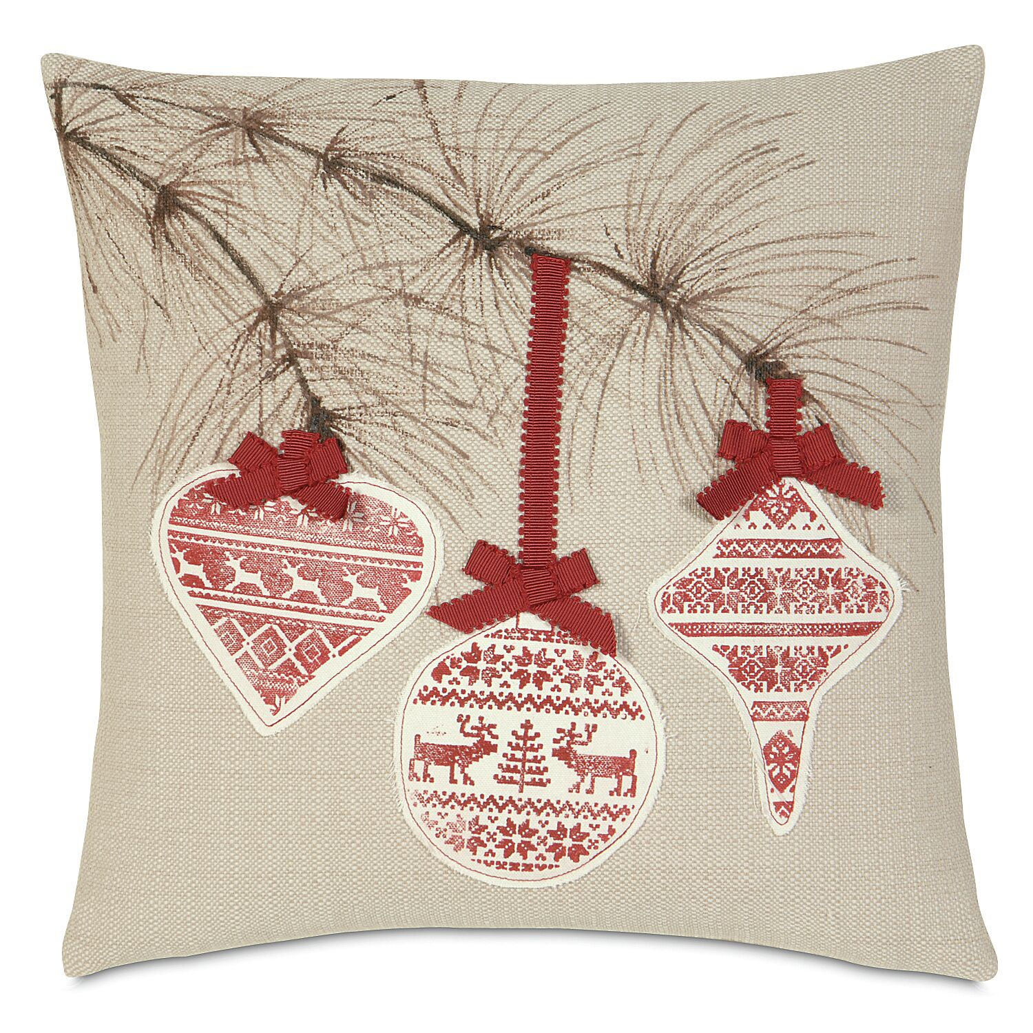 Nordic Holiday Festive Bow Throw Pillow