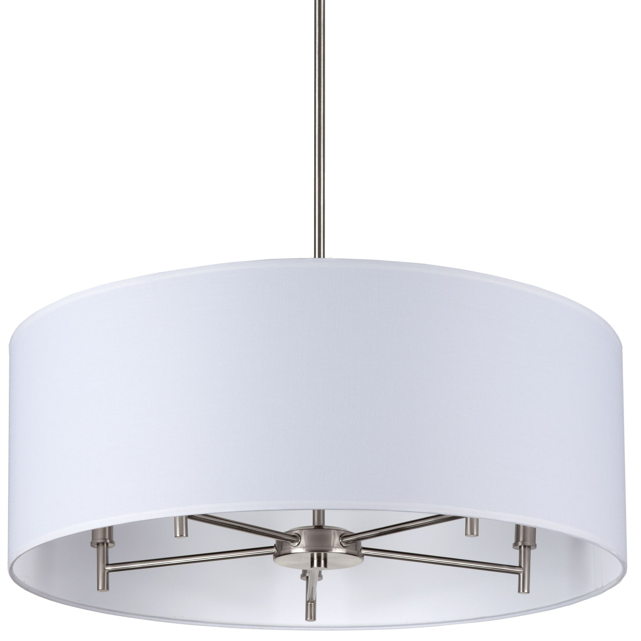 Walker 5-Light Chandelier Base Finish: Brushed Nickel, Shade Color: Latte Chintz