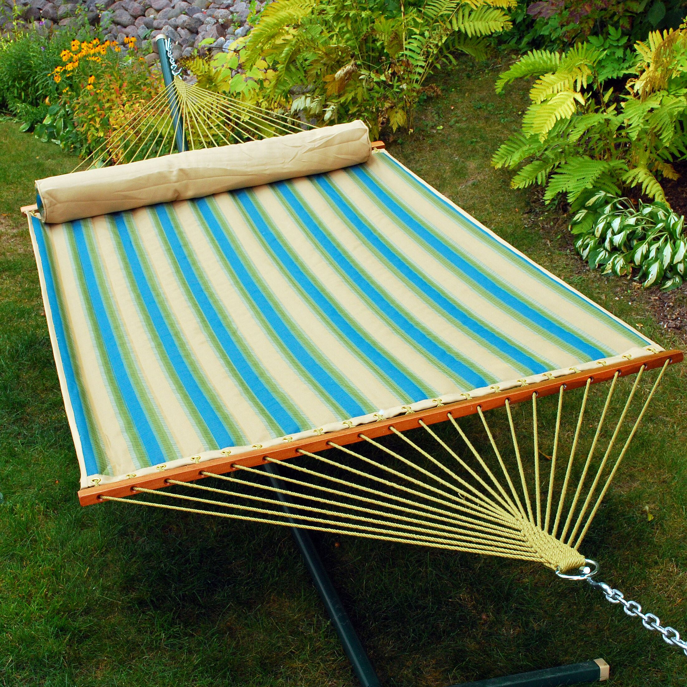Quilted Polyester Tree Hammock Color: Black Forest Stripe