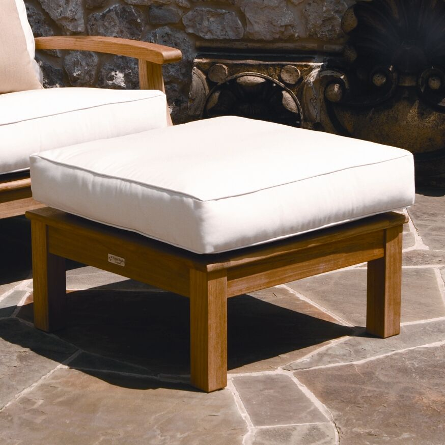 Monterey Outdoor Teak Ottoman with Sunbrella Cushion Fabric: Sapphire Blue